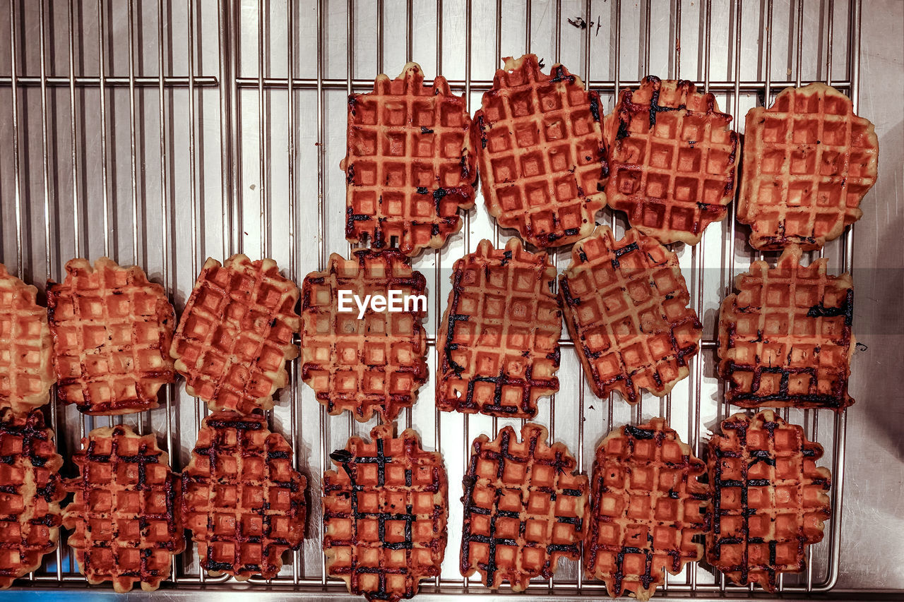 High angle view of waffles on cooling rack