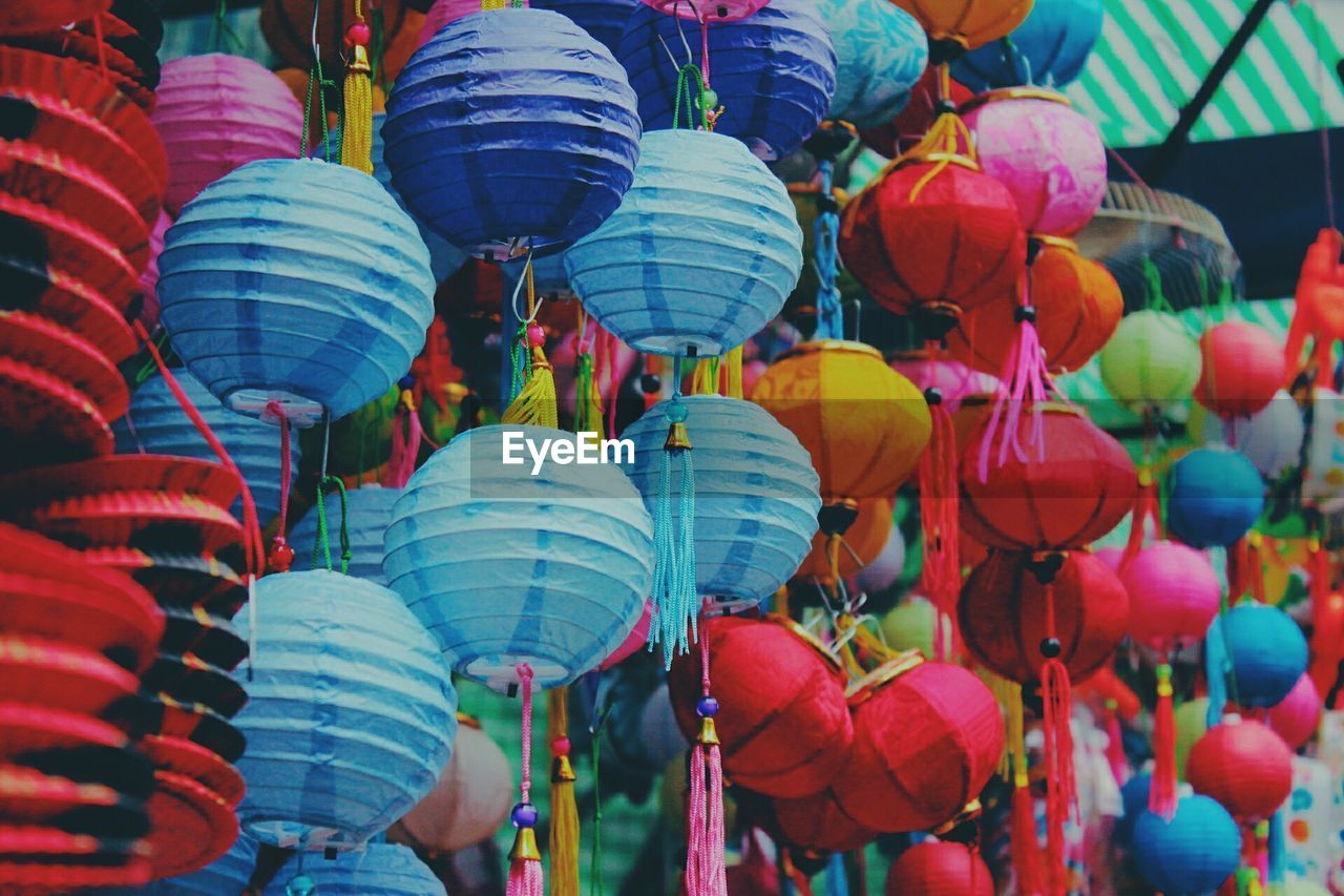 Full frame shot of colorful lanterns