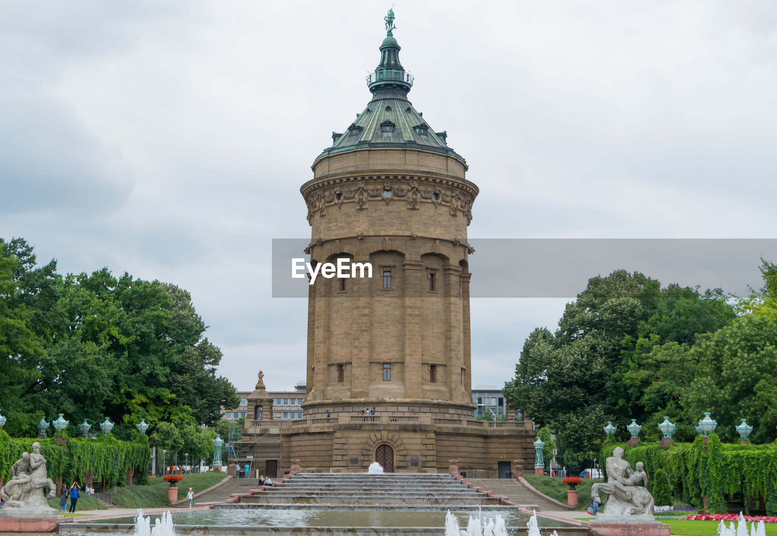 Mannheim water tower against cloudy sky