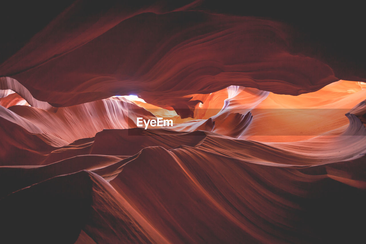 View inside rock formation in a desert