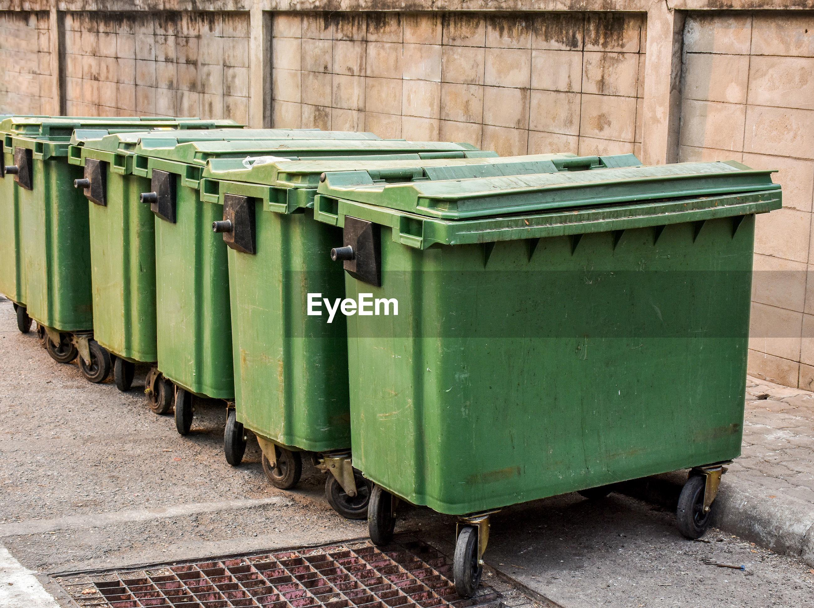 Garbage bin outdoors