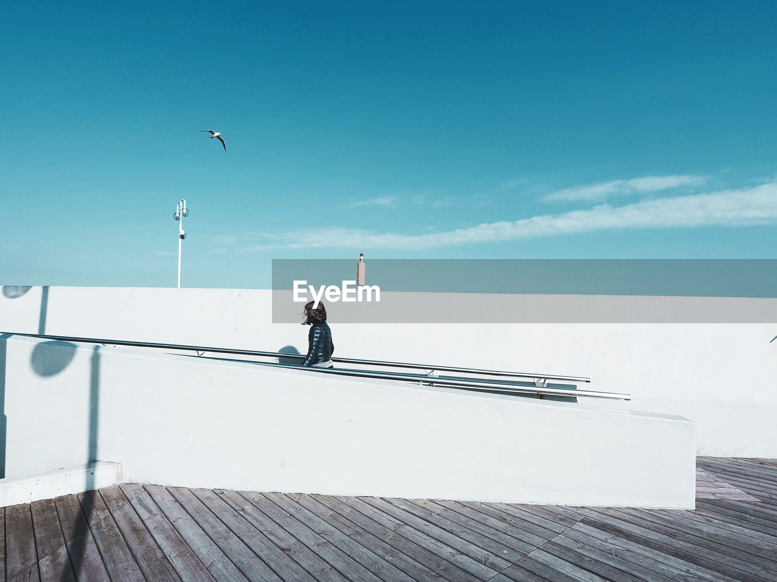 WeekOnEyeEm Beauty In Nature Bird Clear Sky Day Full Length Horizon Over Water Leisure Activity Men Nature One Person Outdoors People Real People Sea Shadow Sky Water The Week On EyeEm Urban Architecture By BJP
