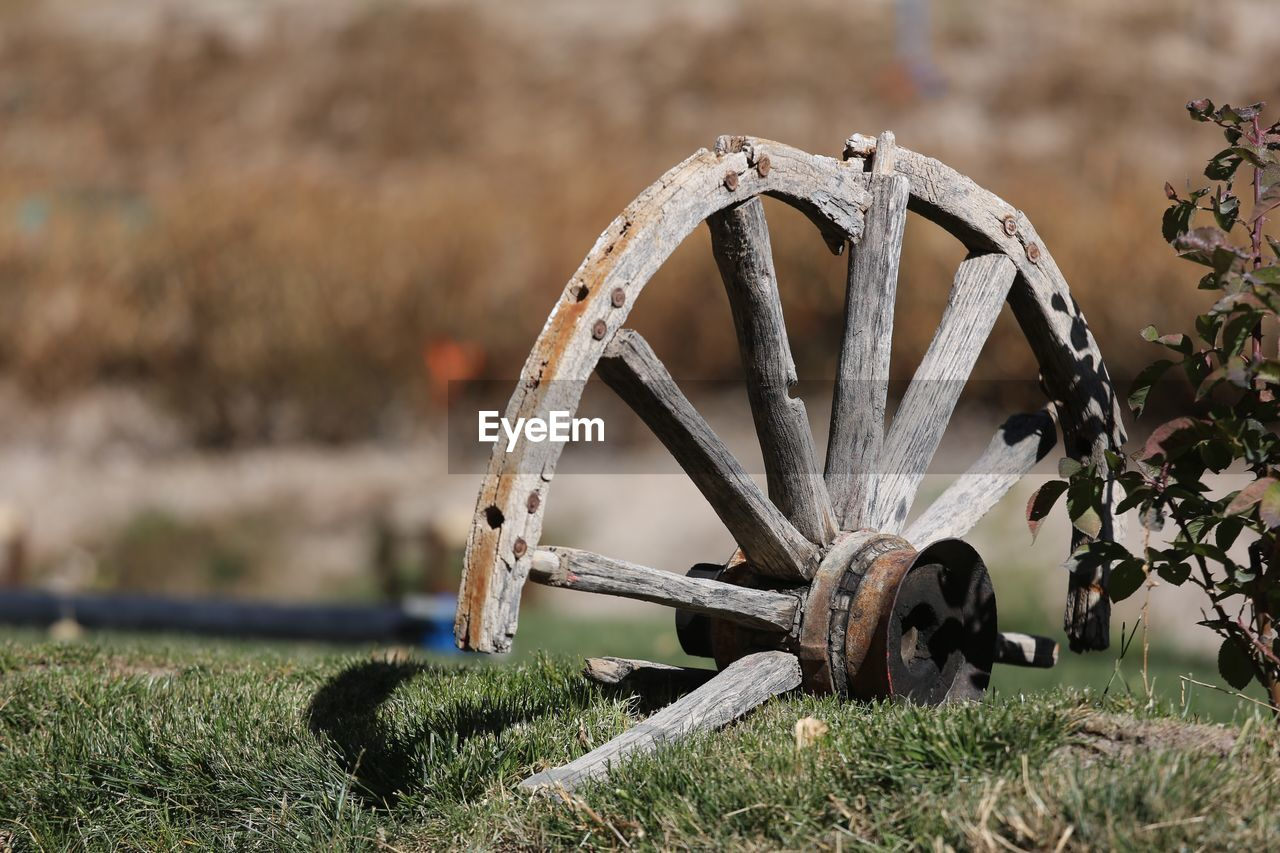 field, wheel, land, no people, grass, focus on foreground, nature, plant, machinery, day, old, transportation, outdoors, metal, obsolete, abandoned, the past, history, green color, wagon wheel