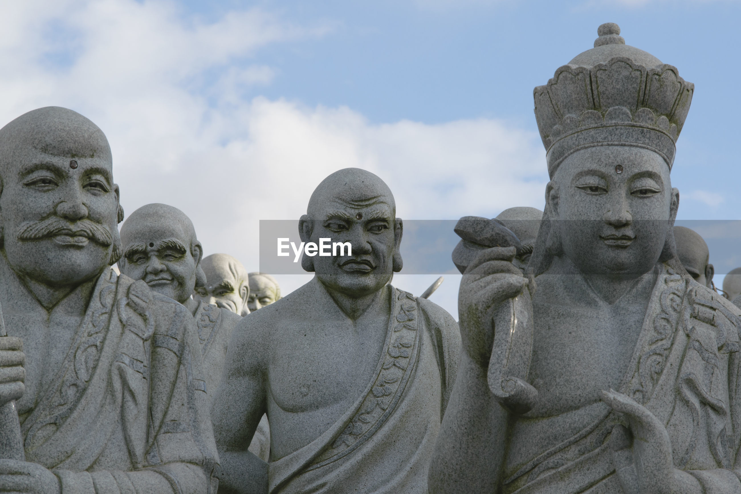 Close-up of statues at lohan temple