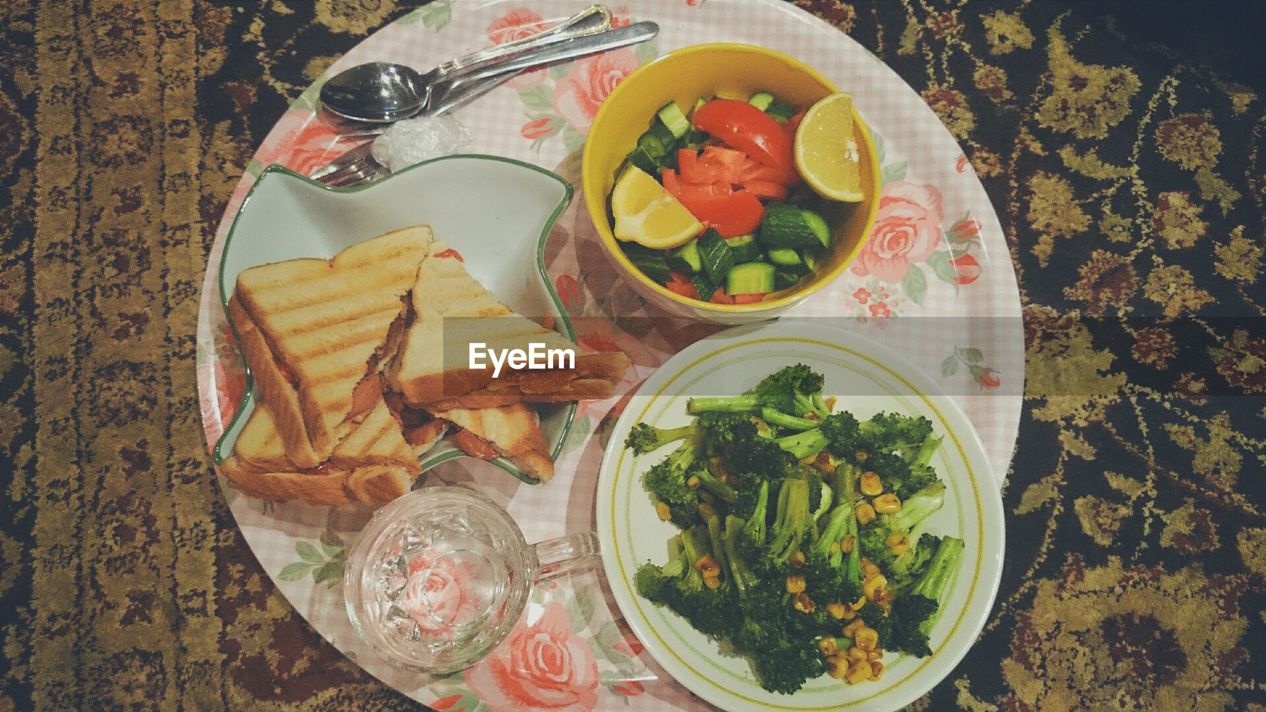 food and drink, food, freshness, ready-to-eat, indoors, healthy eating, plate, high angle view, table, still life, serving size, bowl, vegetable, meal, directly above, salad, indulgence, meat, served, leaf