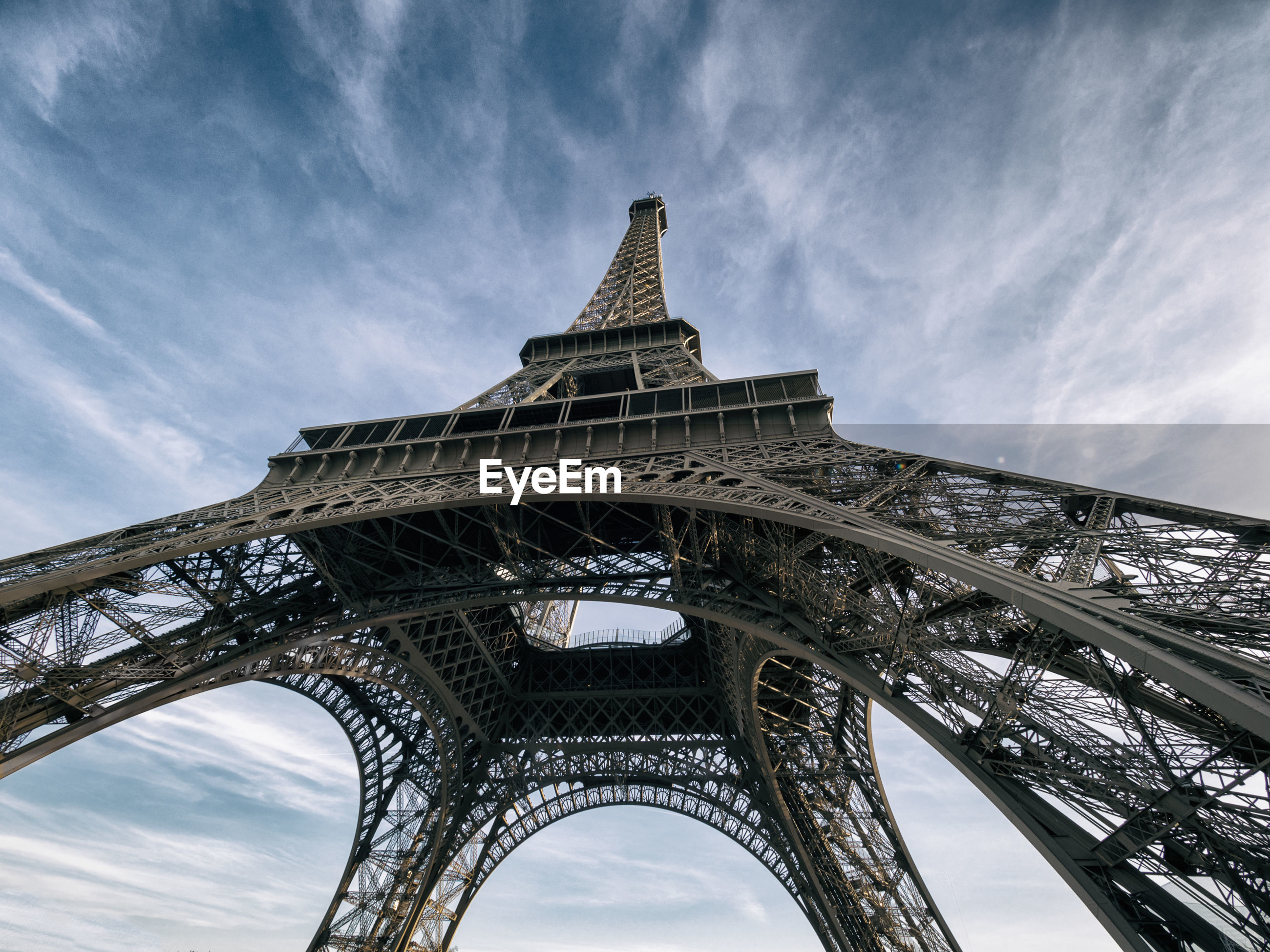 LOW ANGLE VIEW OF EIFFEL TOWER WITH EIFFEL TOWER