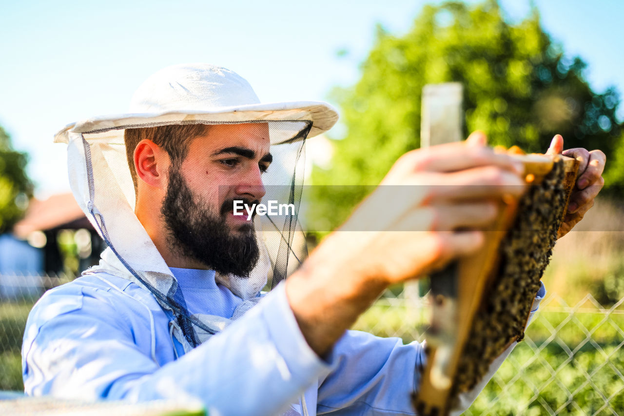 Beekeeper Inspecting Beehive During Sunny Day