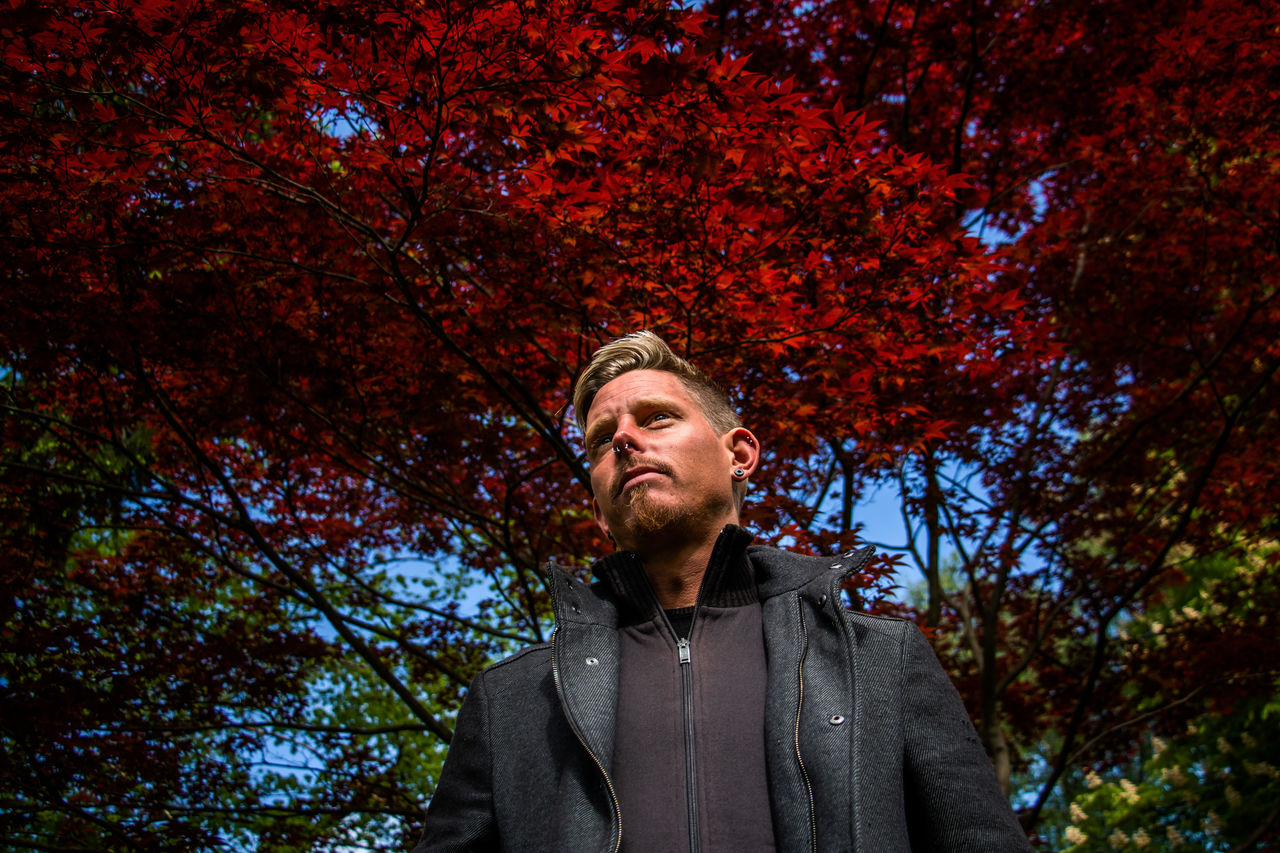 Low angle view of man standing against trees during autumn