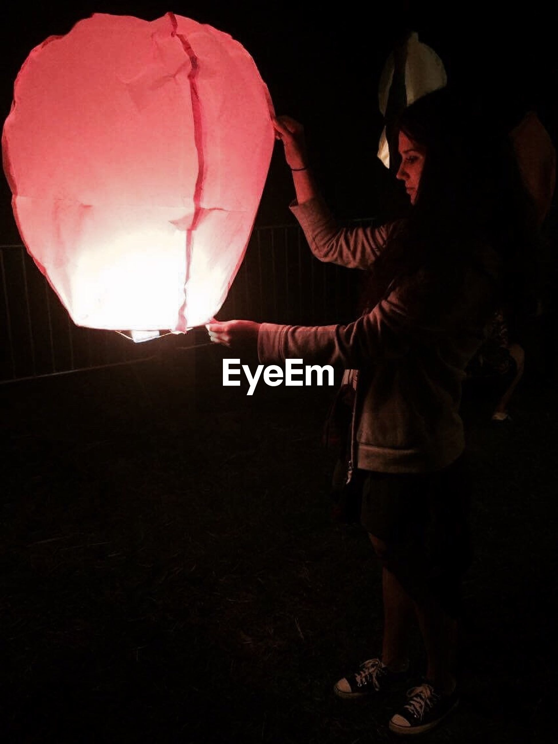 lantern, red, person, holding, vibrant color