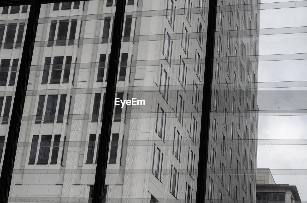 City seen through window