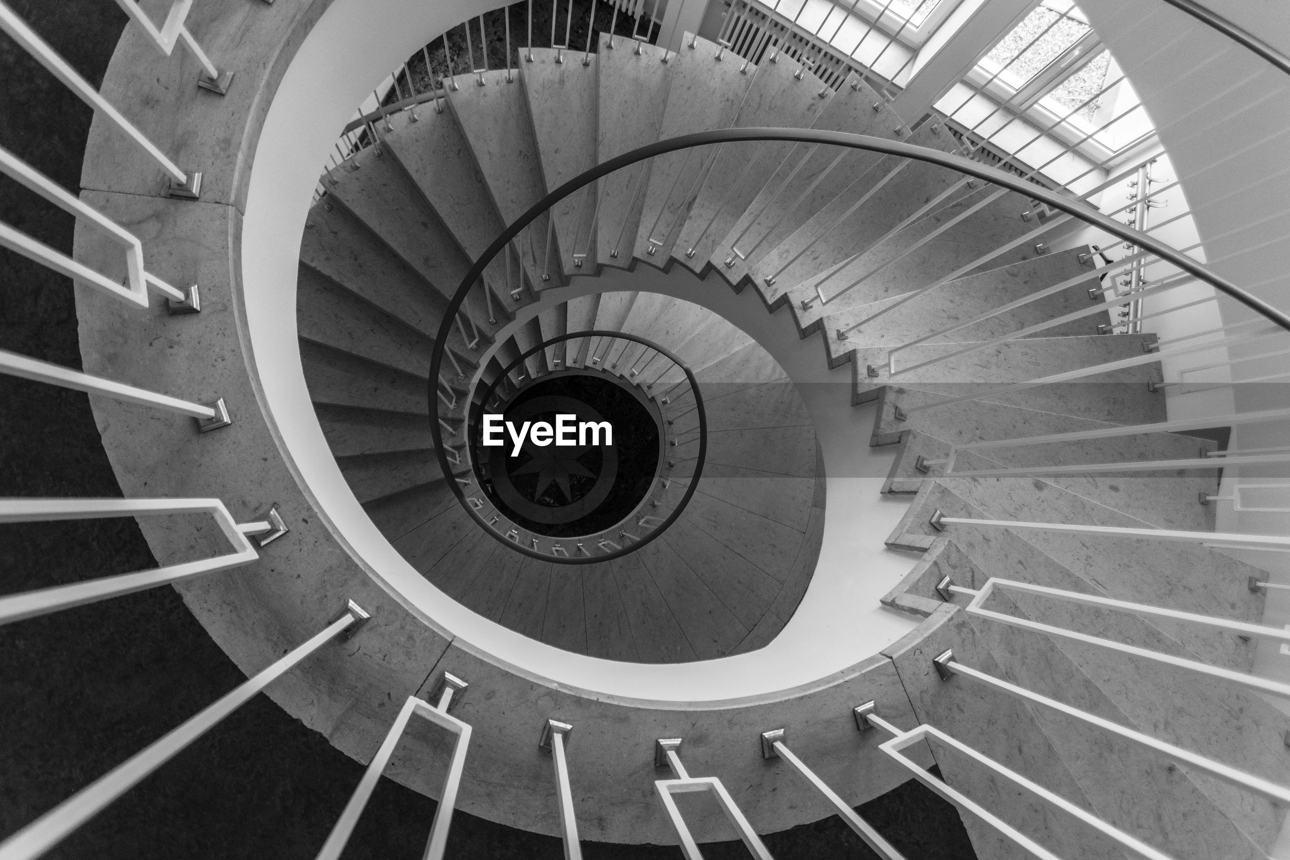 High angle view of spiral steps in building