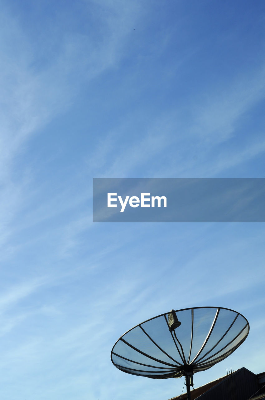 satellite dish, satellite, sky, antenna - aerial, telecommunications equipment, technology, blue, global communications, communication, cloud - sky, broadcasting, connection, wireless technology, nature, architecture, no people, built structure, tower, day, low angle view, outdoors, radio wave, electrical equipment, crockery, station