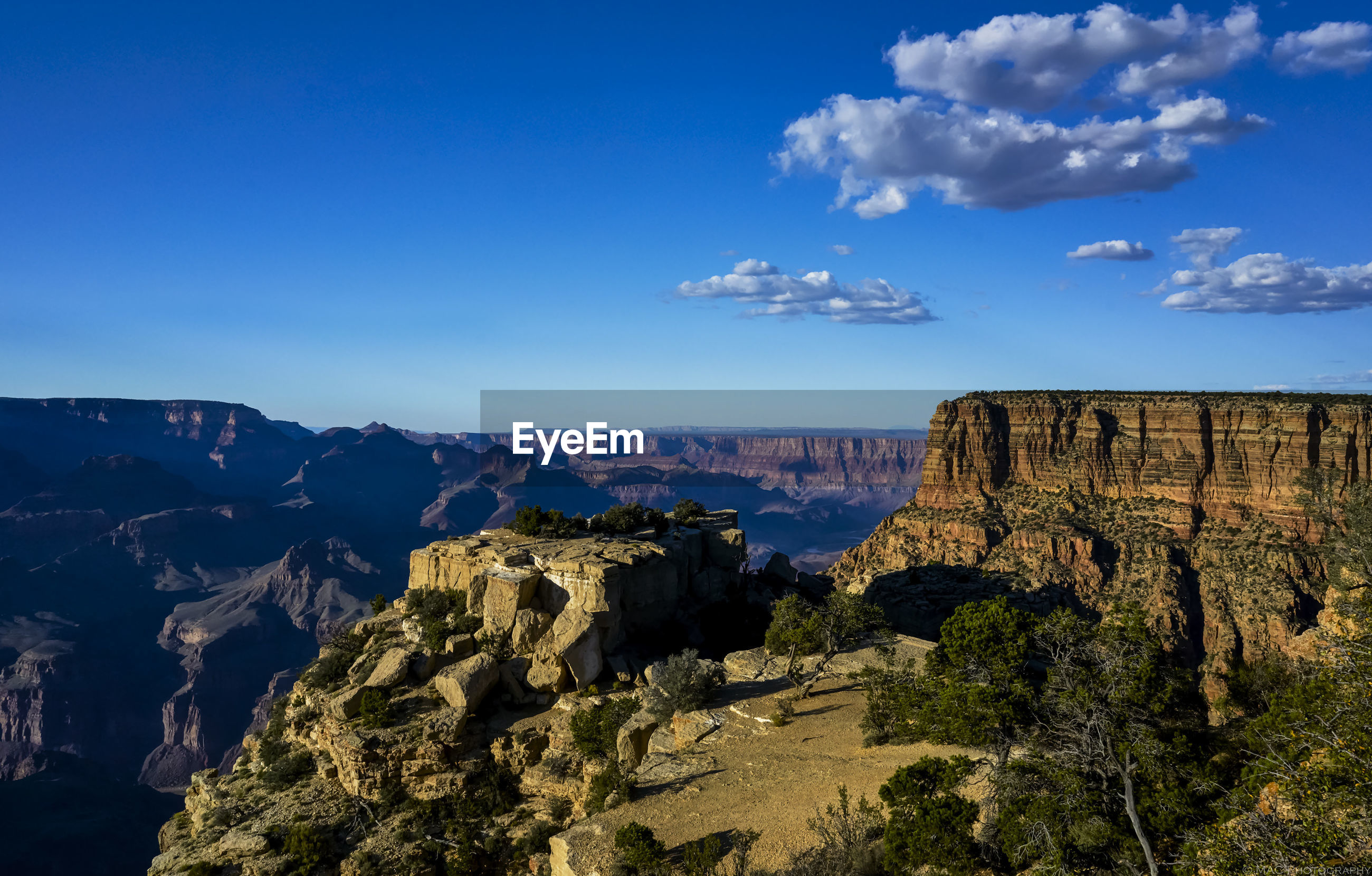 Scenic view of moran point at grand canyon national park against sky