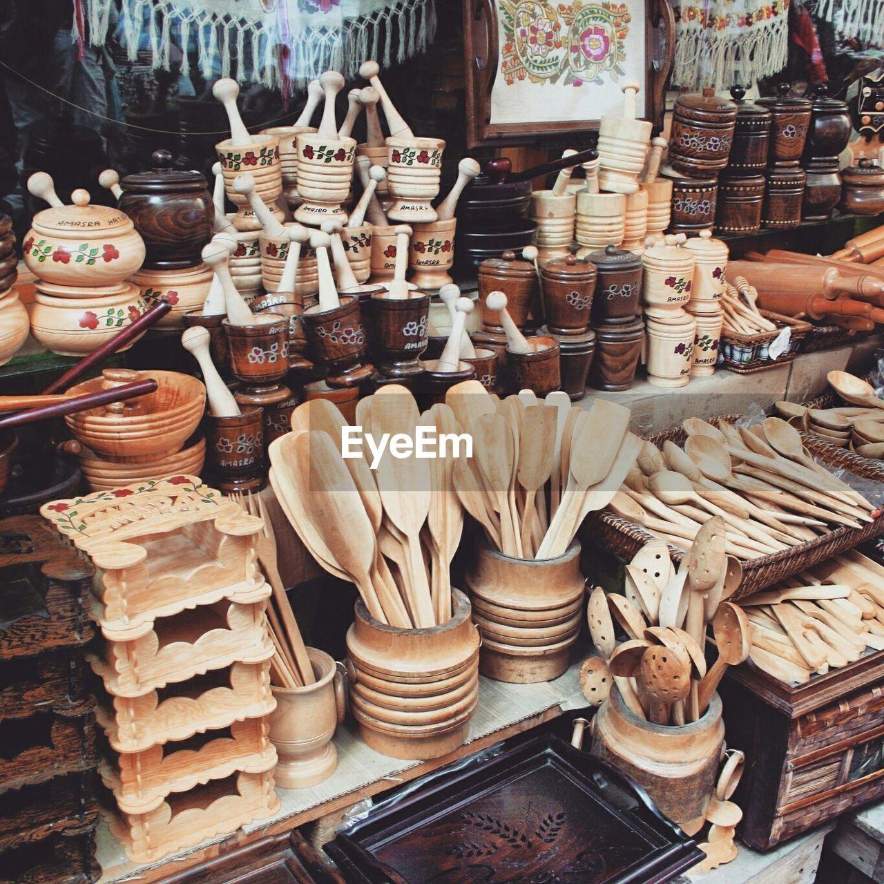 Wooden utensils displayed at market