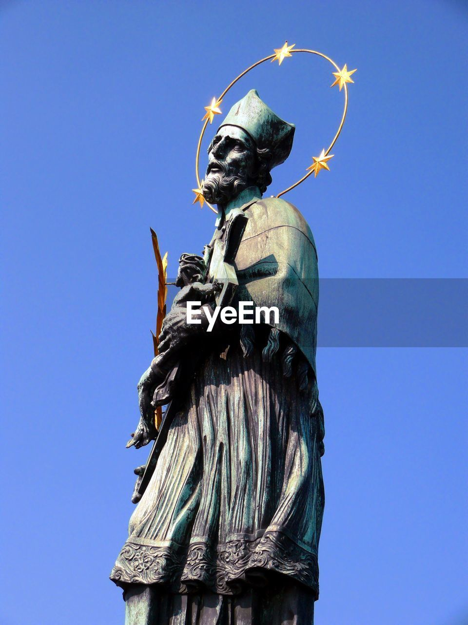 Low angle view of statue at charles bridge against sky
