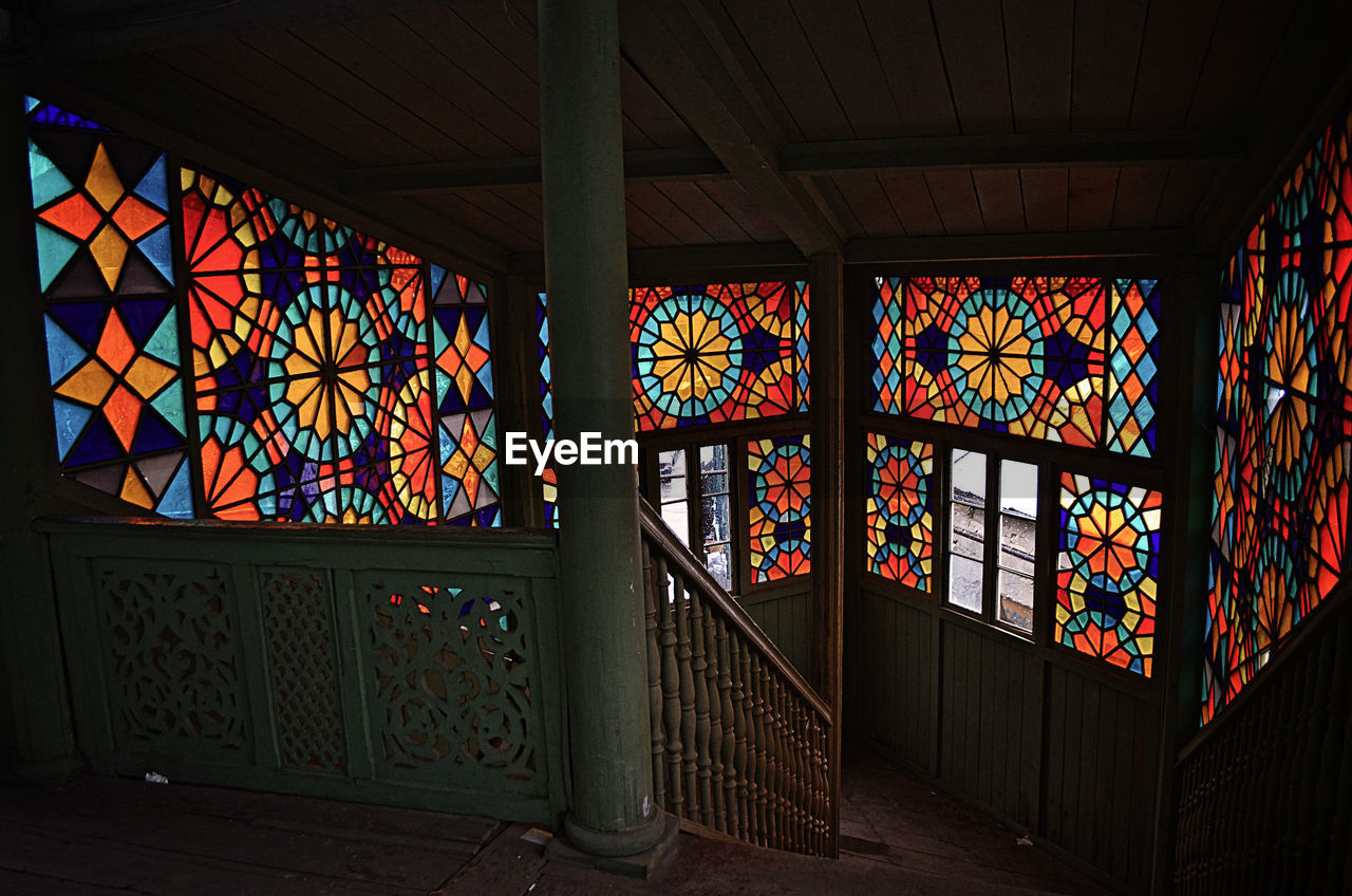 multi colored, architecture, design, window, built structure, pattern, place of worship, indoors, religion, no people, day