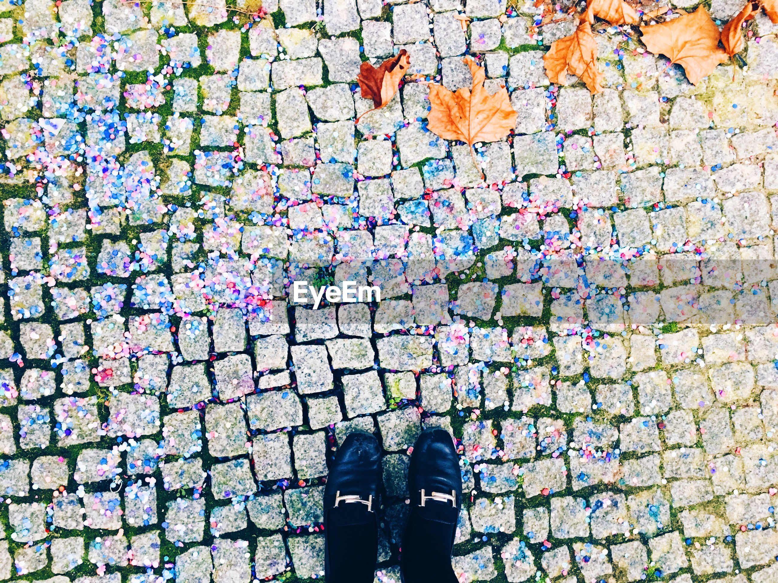 Low section of woman on road amidst confetti