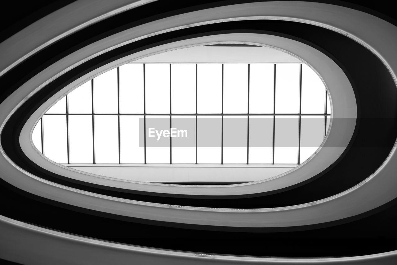 Directly below shot of skylight in modern building