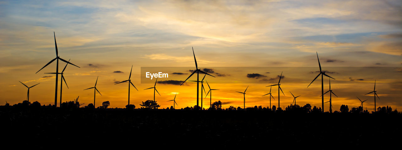 sunset, sky, silhouette, cloud - sky, orange color, fuel and power generation, beauty in nature, environmental conservation, wind turbine, scenics - nature, turbine, renewable energy, nature, alternative energy, environment, tranquil scene, tranquility, no people, non-urban scene, technology, outdoors, power supply