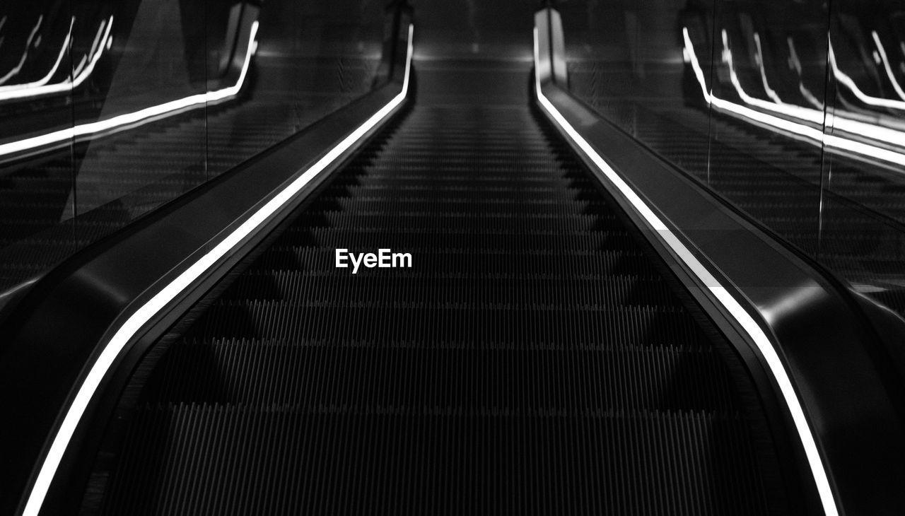 High Angle View Of Illuminated Escalator