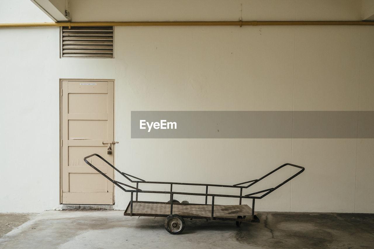 Forklift in empty room
