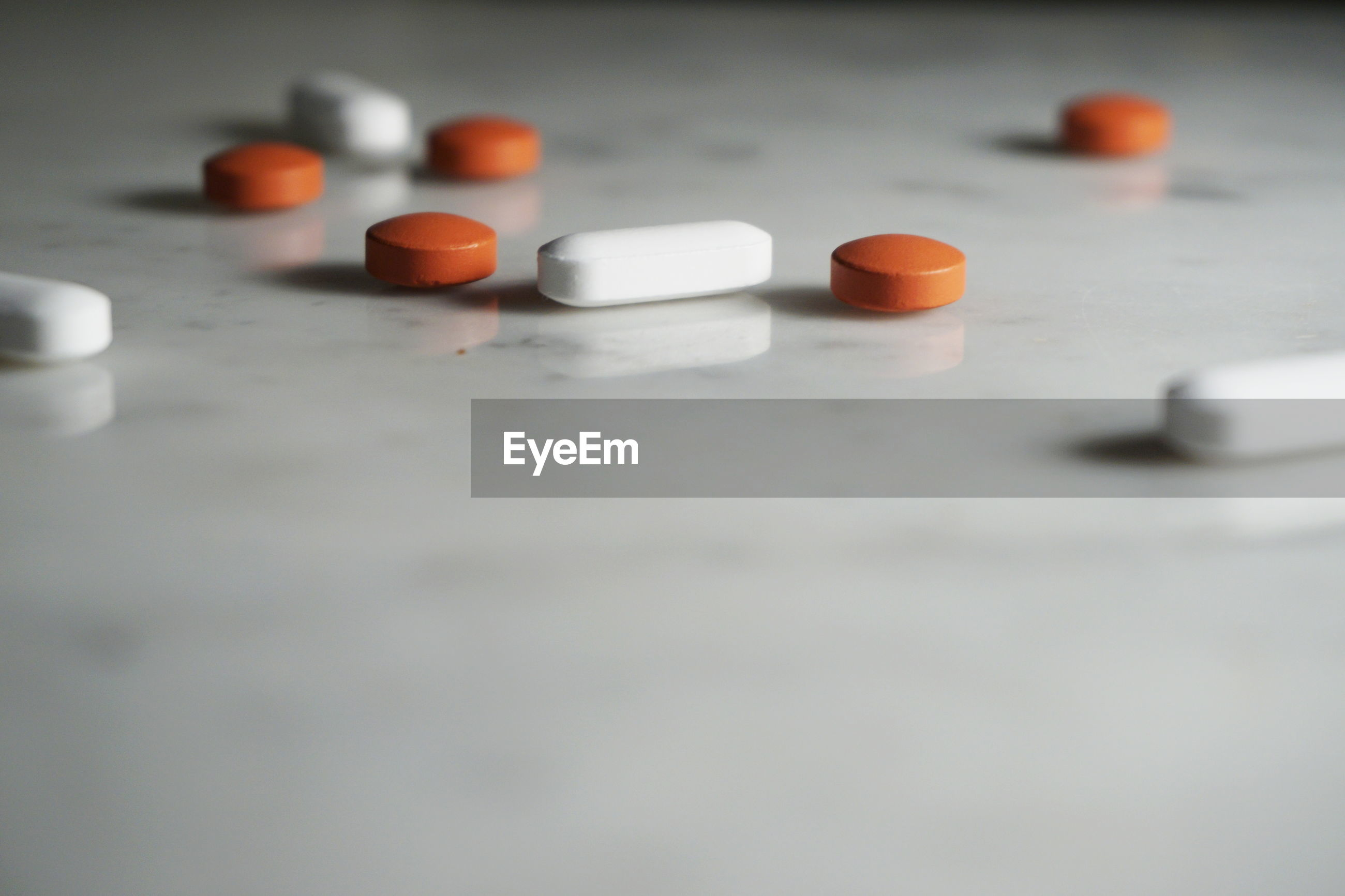 Close up of pills on table