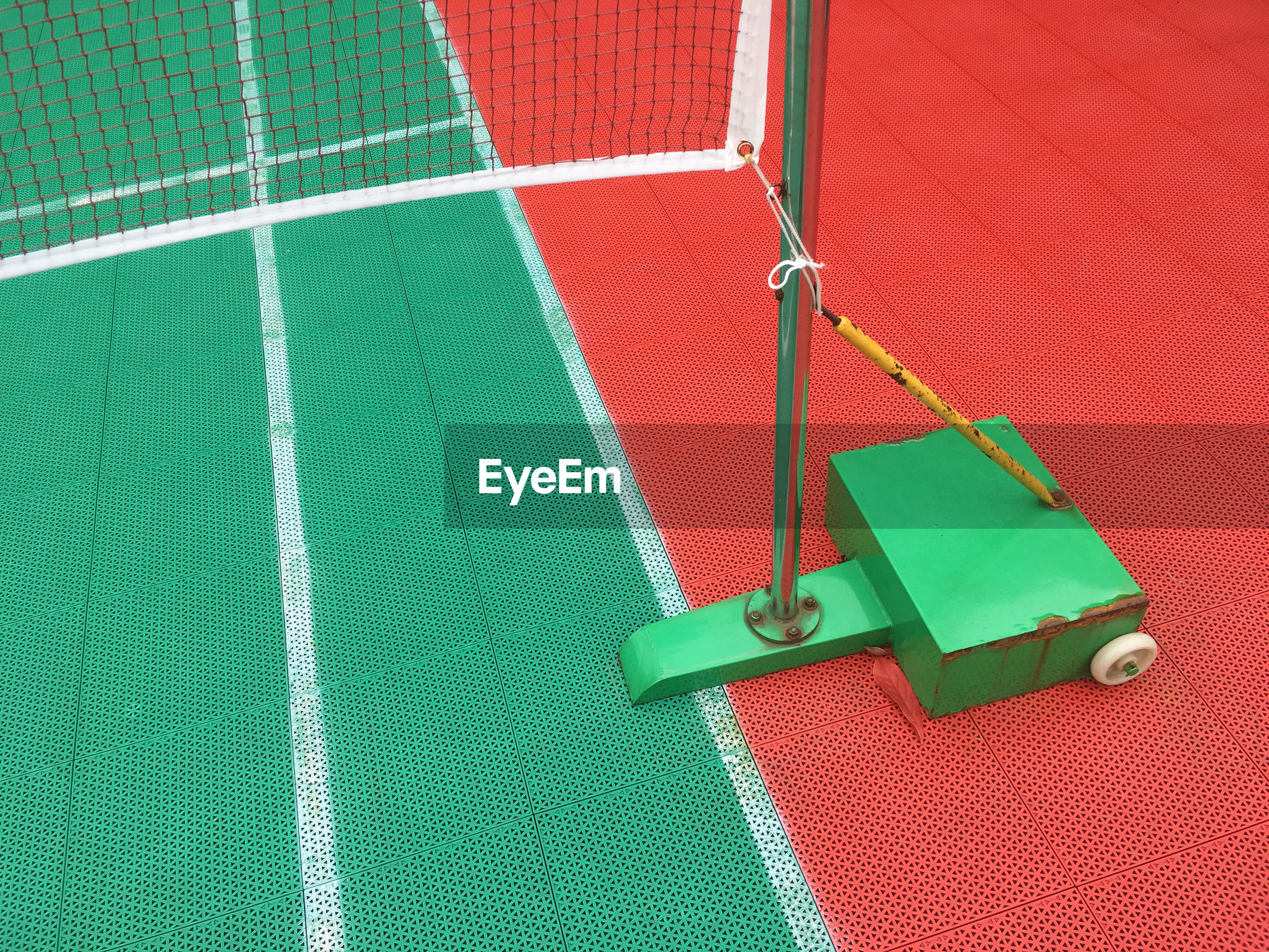 High angle view of net in tennis court