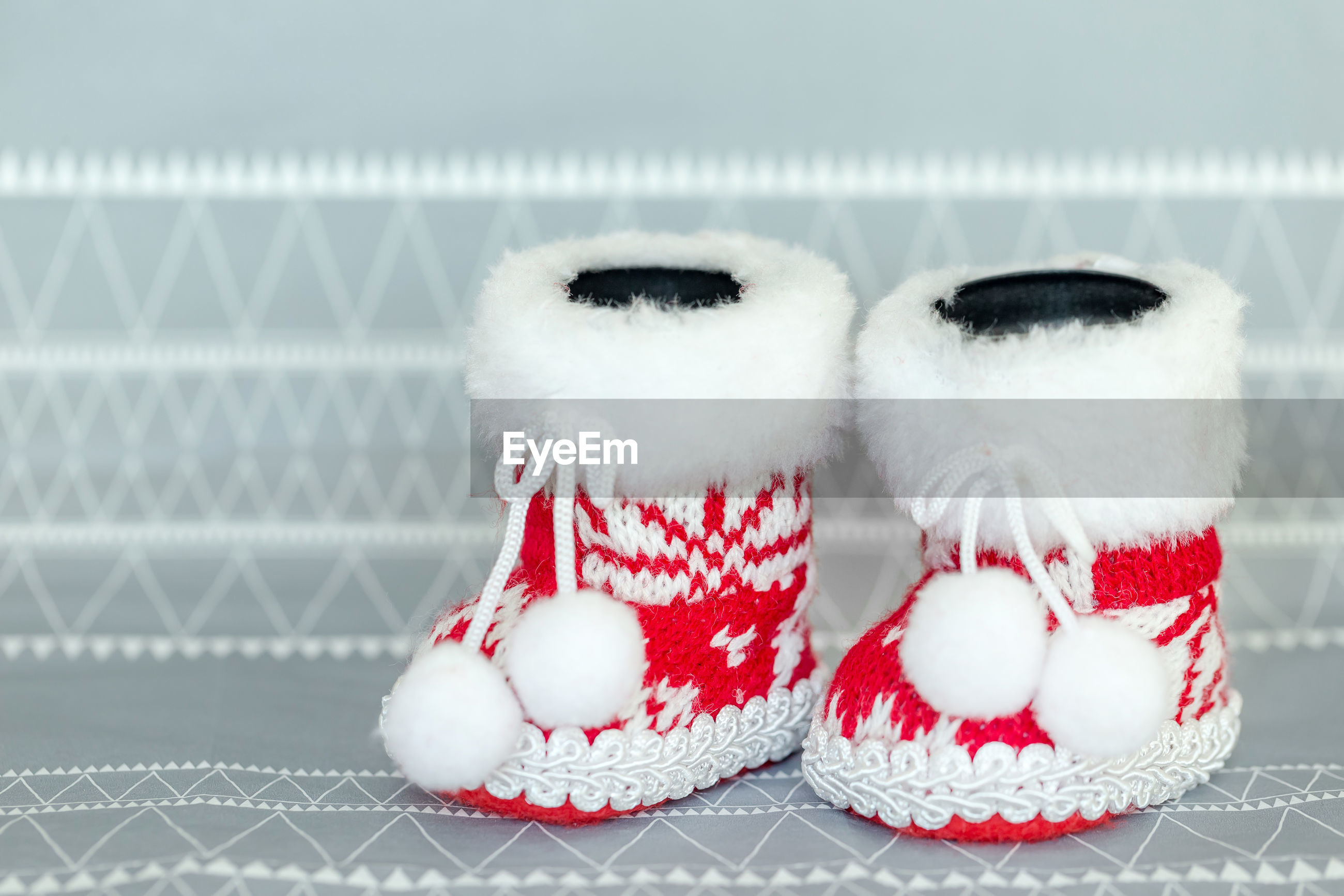 Close-up of baby booties