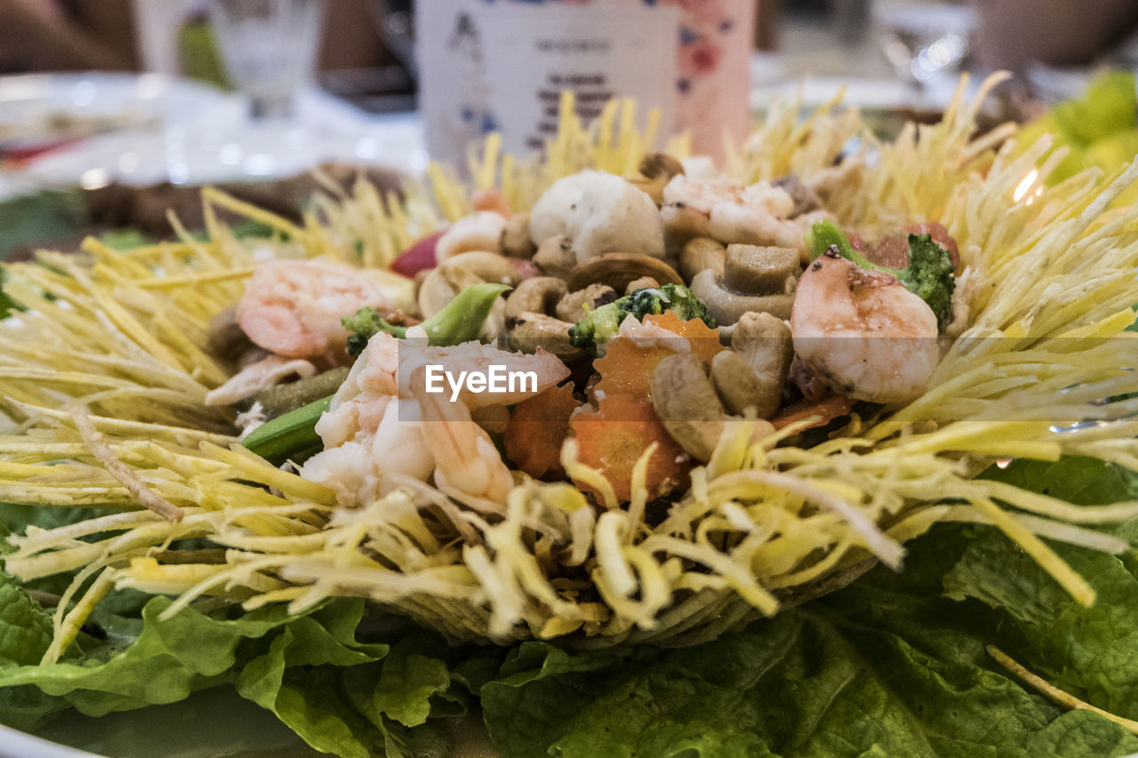 food and drink, food, freshness, healthy eating, wellbeing, close-up, seafood, still life, ready-to-eat, plate, vegetable, indoors, no people, serving size, focus on foreground, shrimp - seafood, herb, selective focus, meat, plant