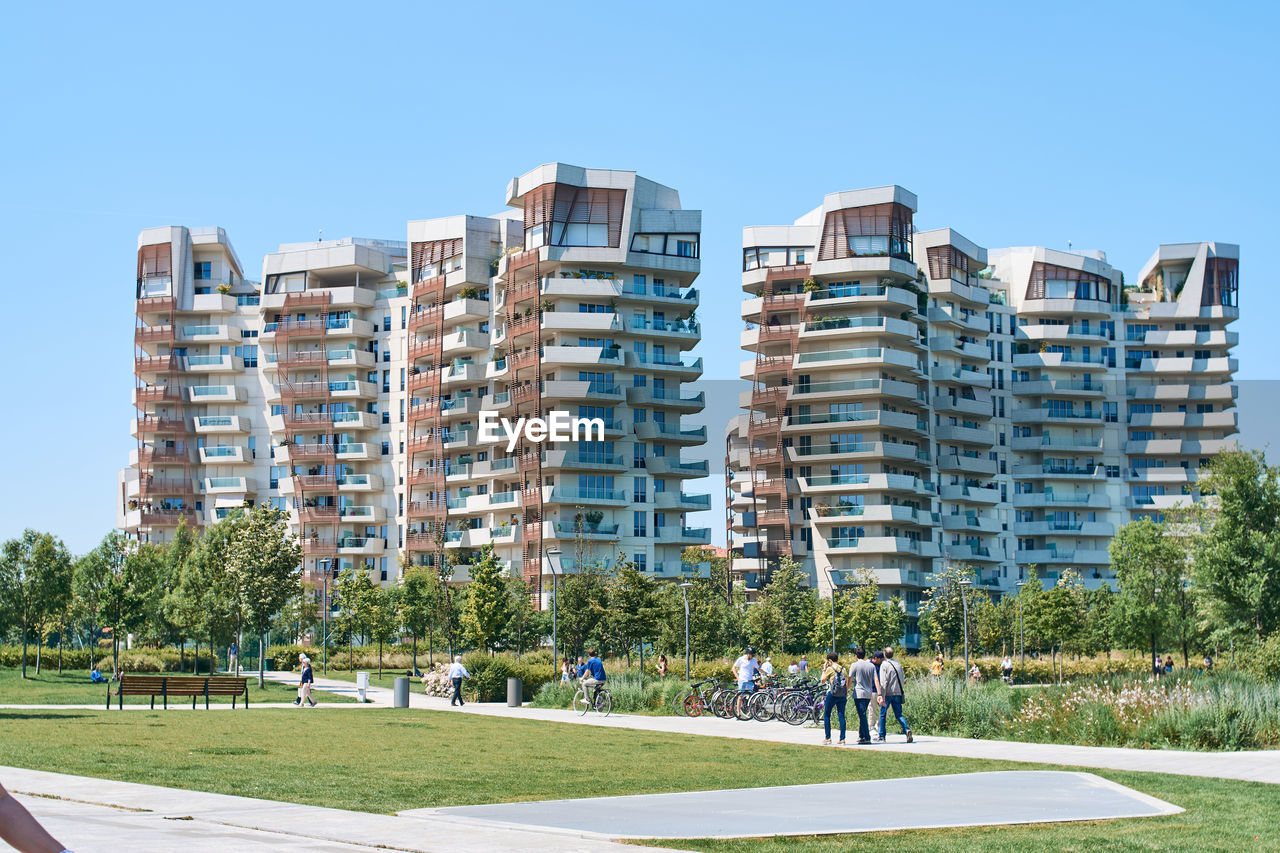 RESIDENTIAL BUILDINGS AGAINST BLUE SKY