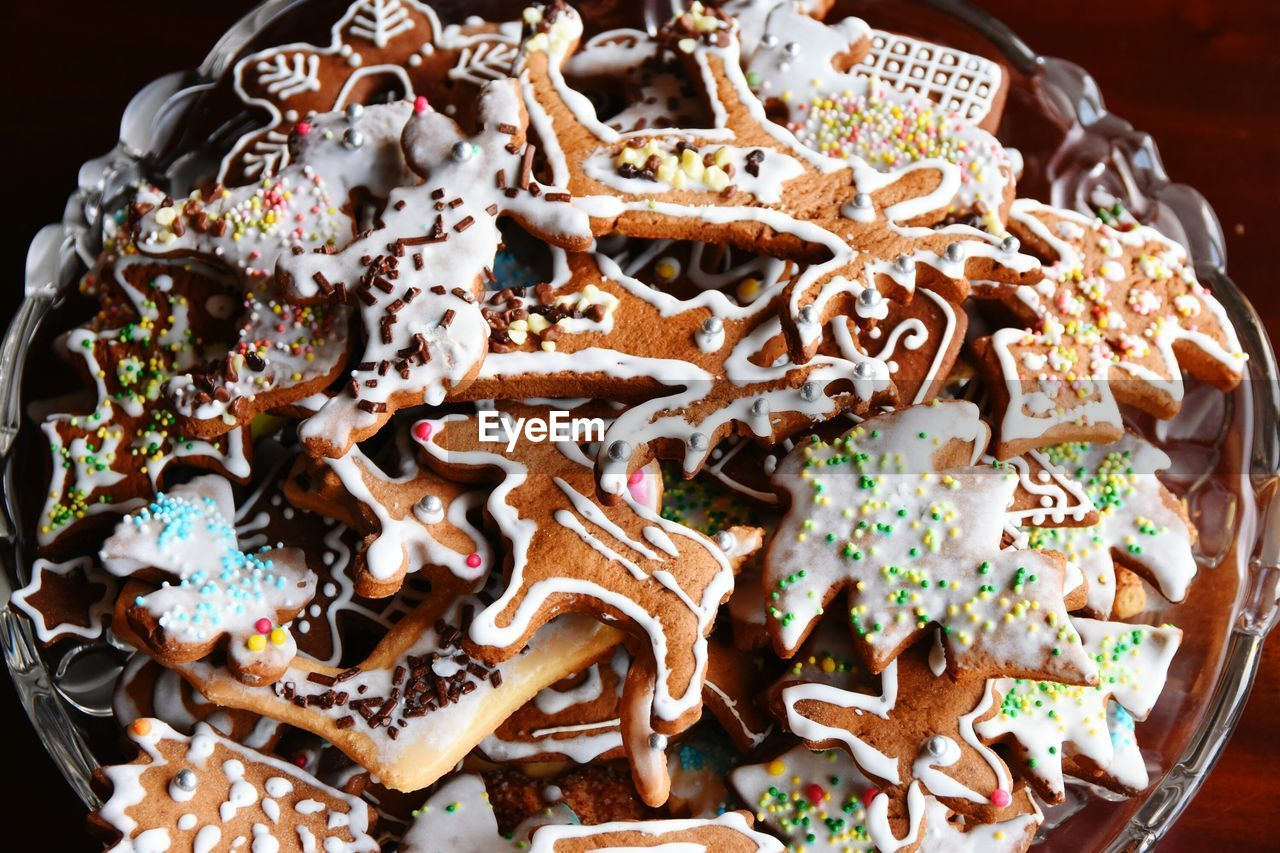 High Angle View Of Fresh Gingerbread Cookies In Bowl At Home
