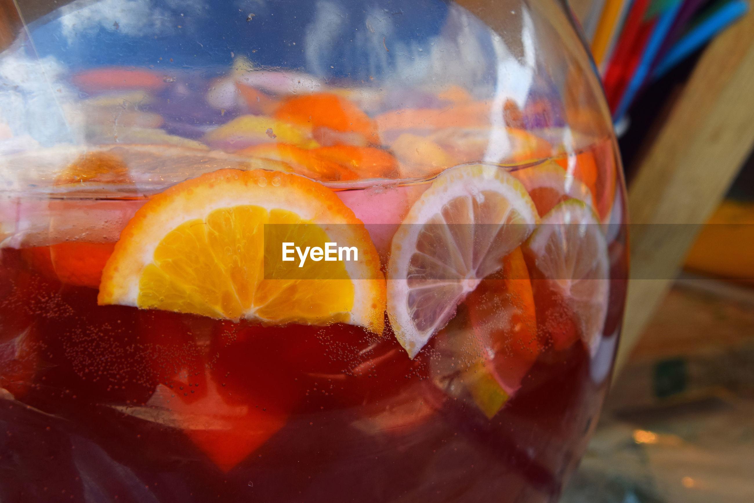 Close-up of slices of orange in homemade orangeade