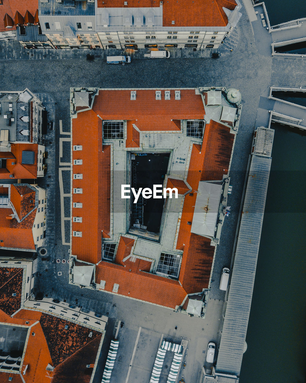 High angle view of residential buildings