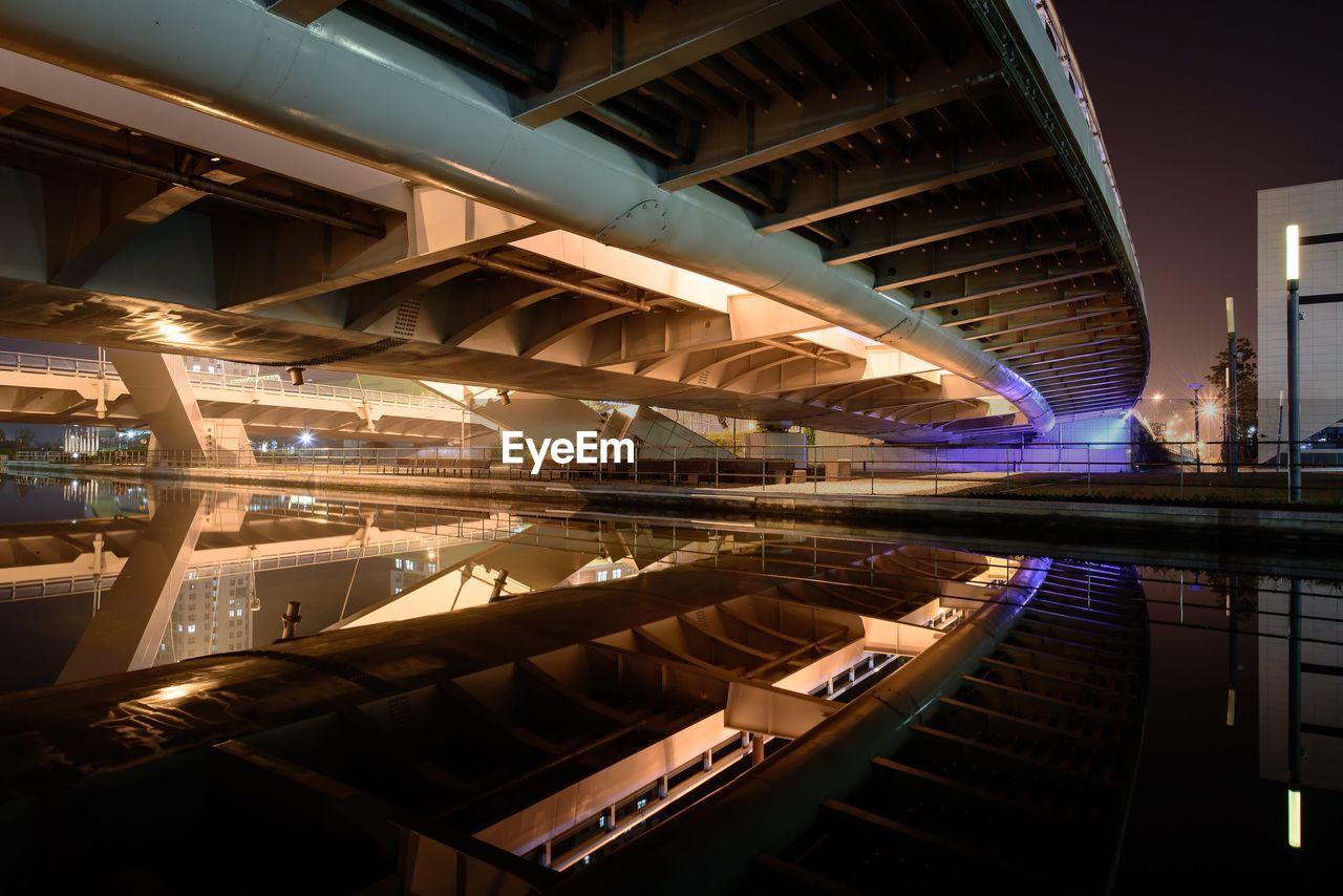 Reflection Of Illuminated Bridge Over River At Night