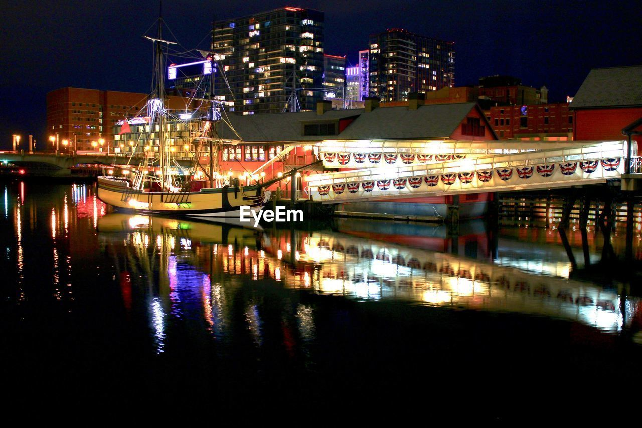 night, illuminated, reflection, architecture, building exterior, built structure, waterfront, water, no people, transportation, city, outdoors, nautical vessel, travel destinations, sky