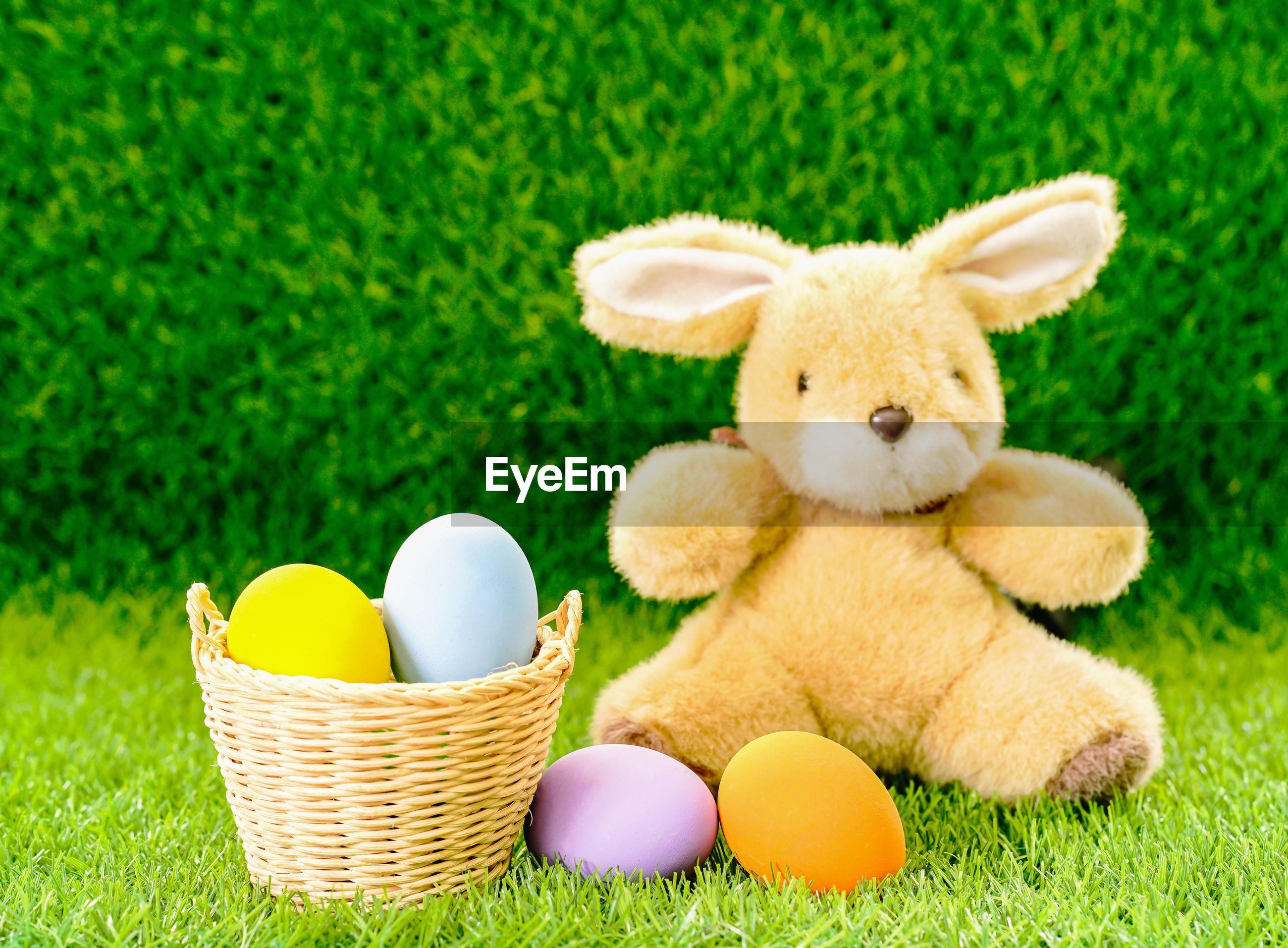 Stuffed toy in basket