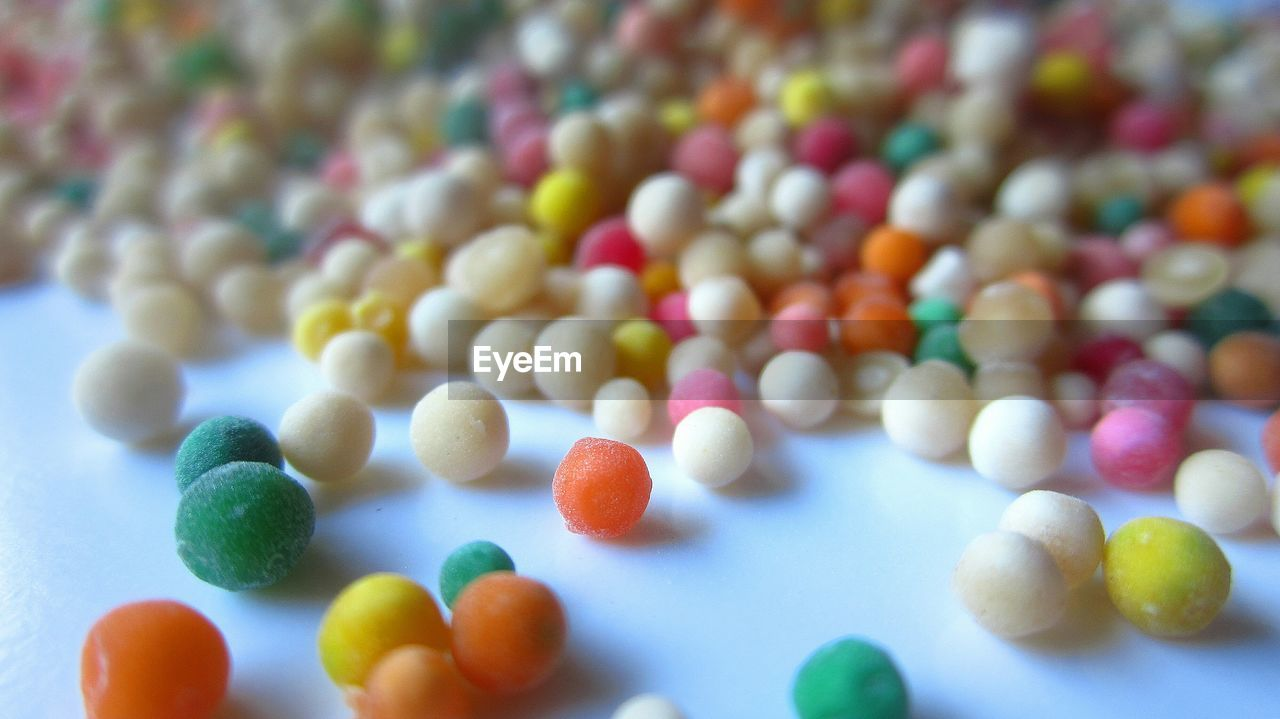 Close-Up Of Multi Colored Tapioca Pearls