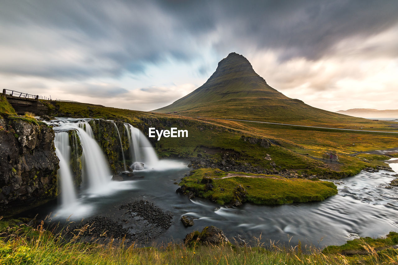 sky, beauty in nature, scenics - nature, cloud - sky, water, long exposure, mountain, nature, non-urban scene, environment, landscape, tranquil scene, no people, motion, tranquility, waterfall, idyllic, blurred motion, flowing water, outdoors, flowing