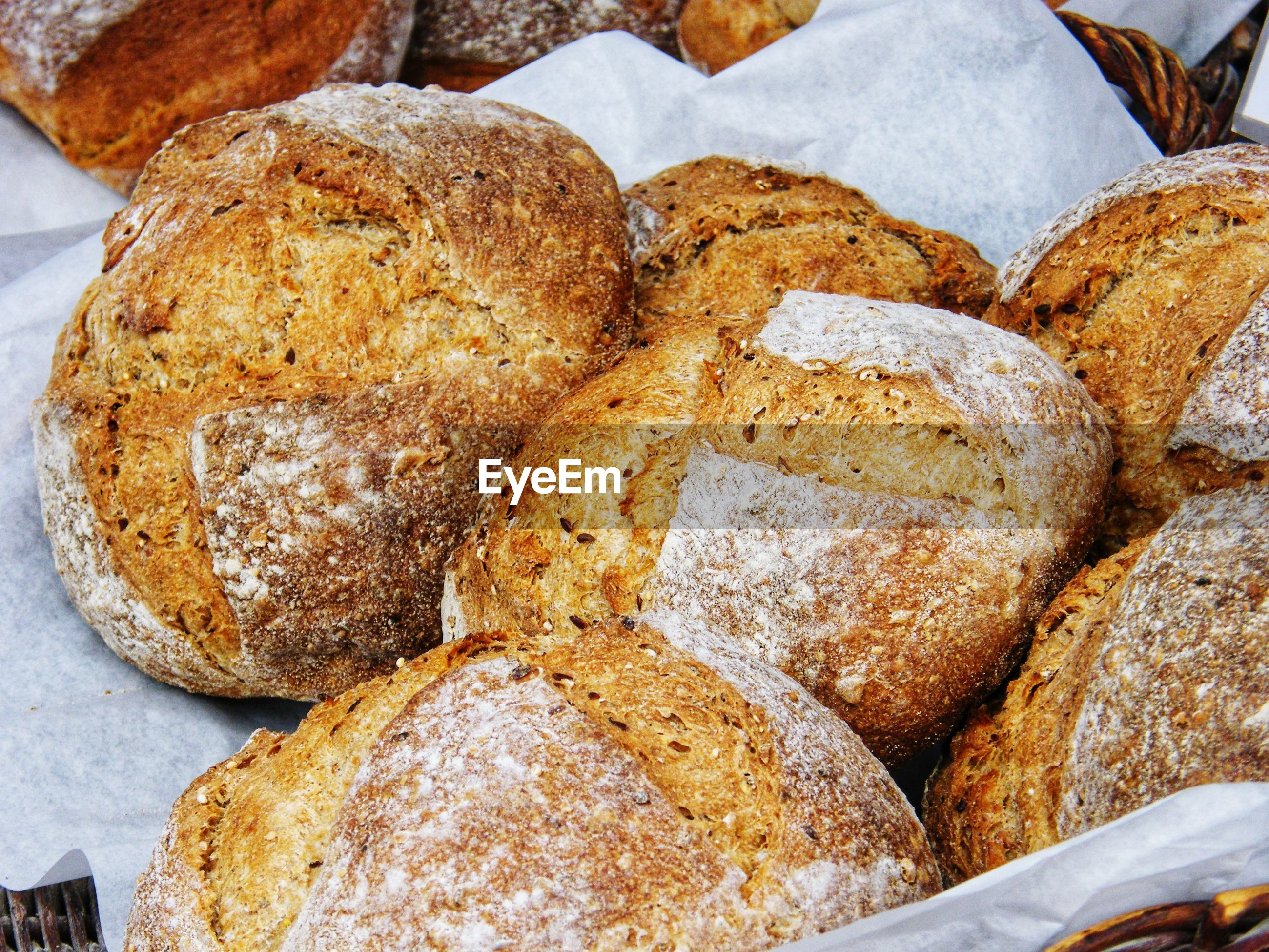 High angle view of bread in store