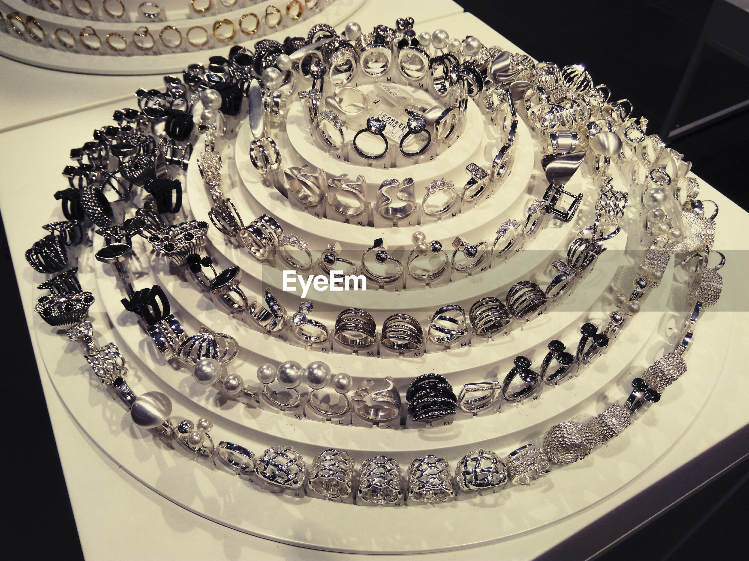 Close-up of rings in jewelry store
