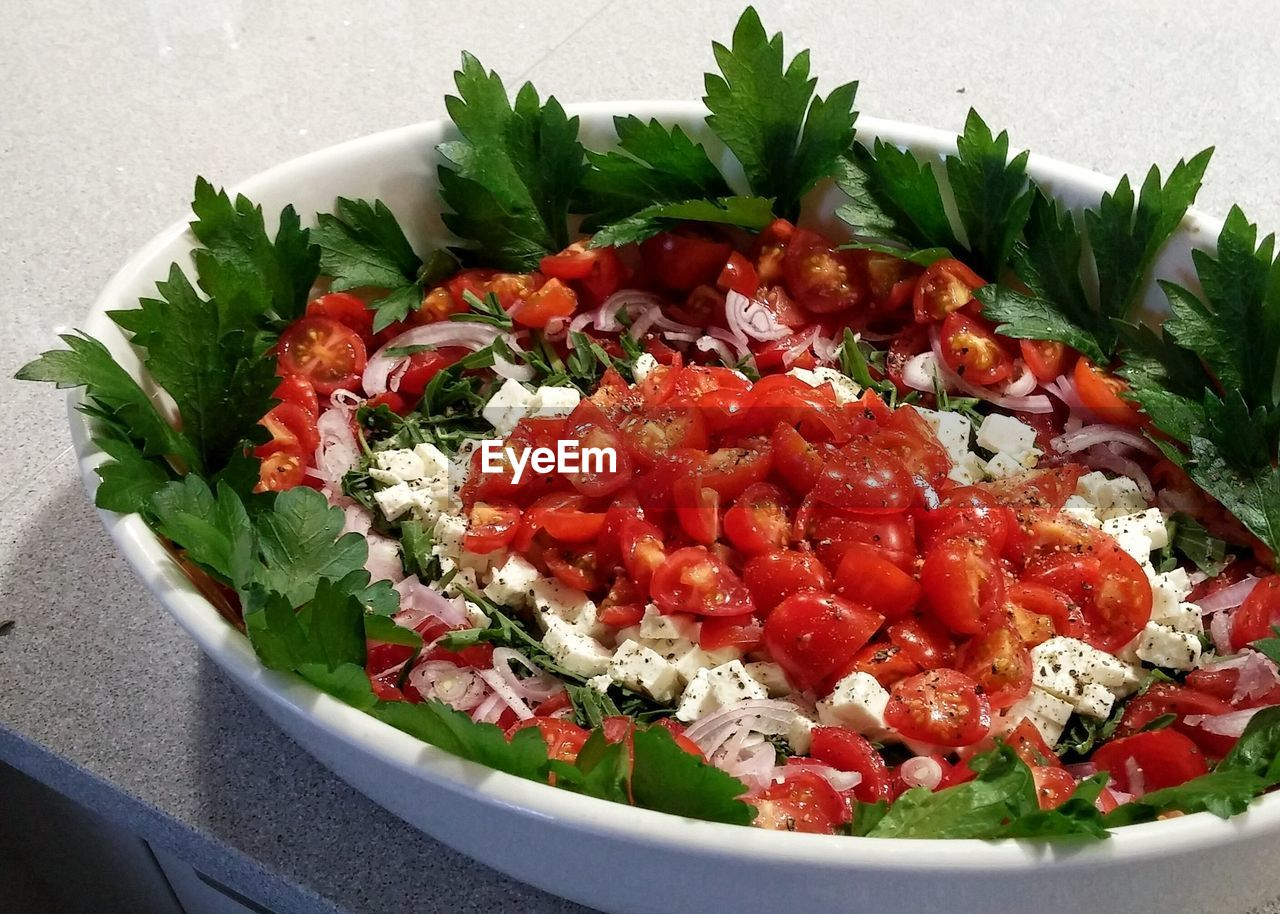 salad, tomato, food, food and drink, vegetable, healthy eating, no people, freshness, bowl, red, leaf, indoors, close-up, ready-to-eat, day