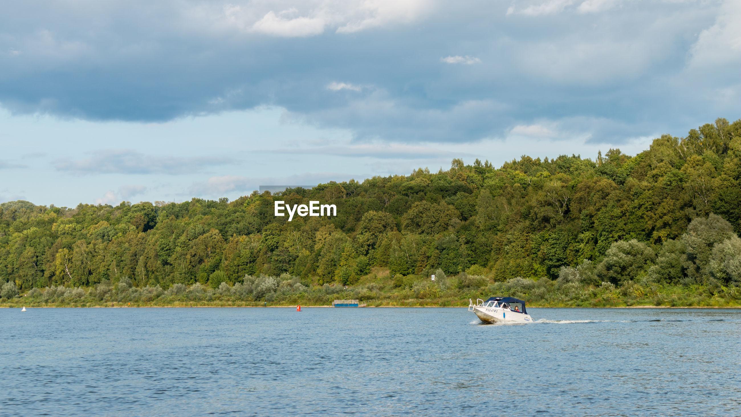 Boat on the oka river, russia, polenovo