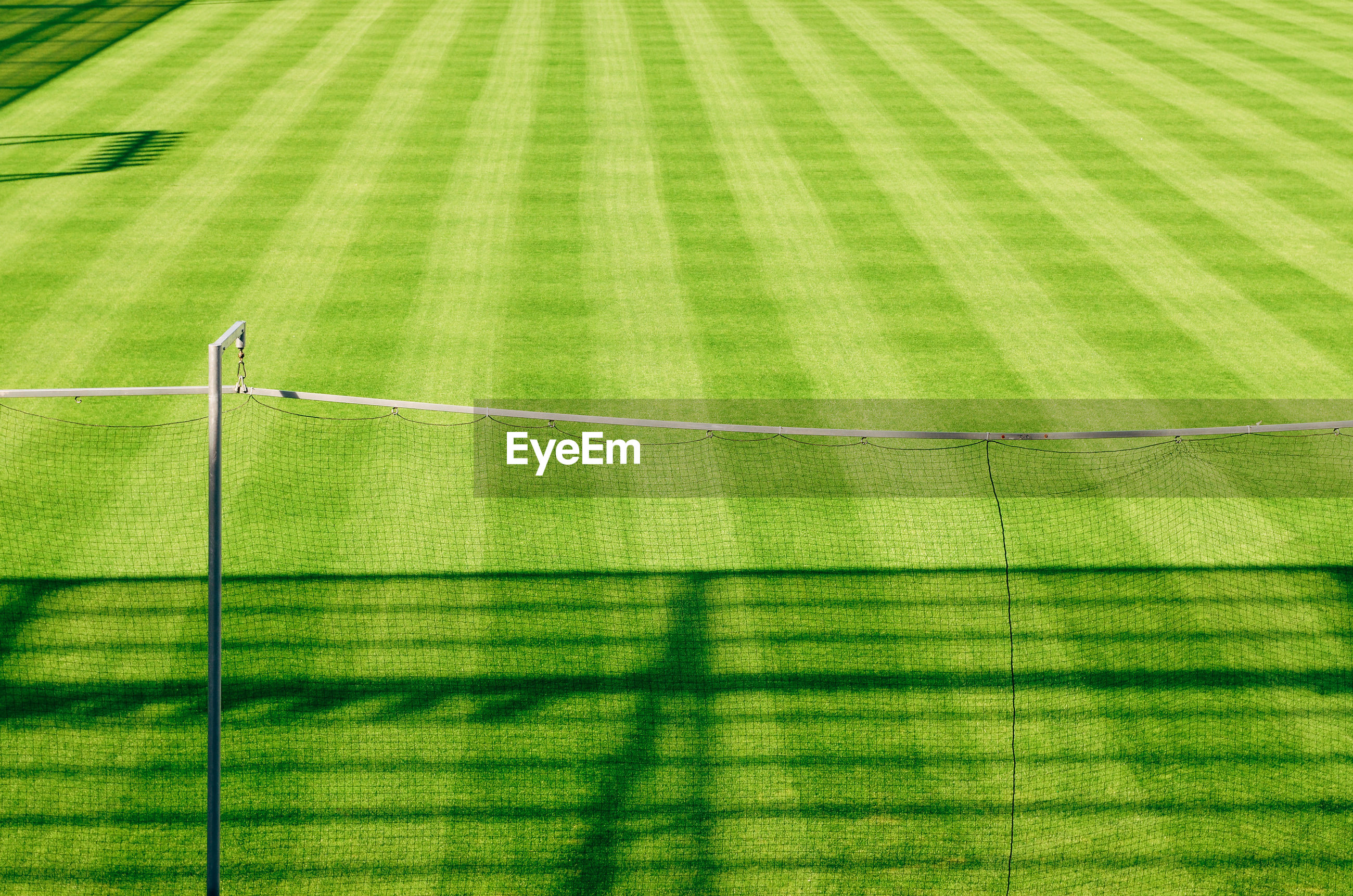 High angle view of empty soccer field