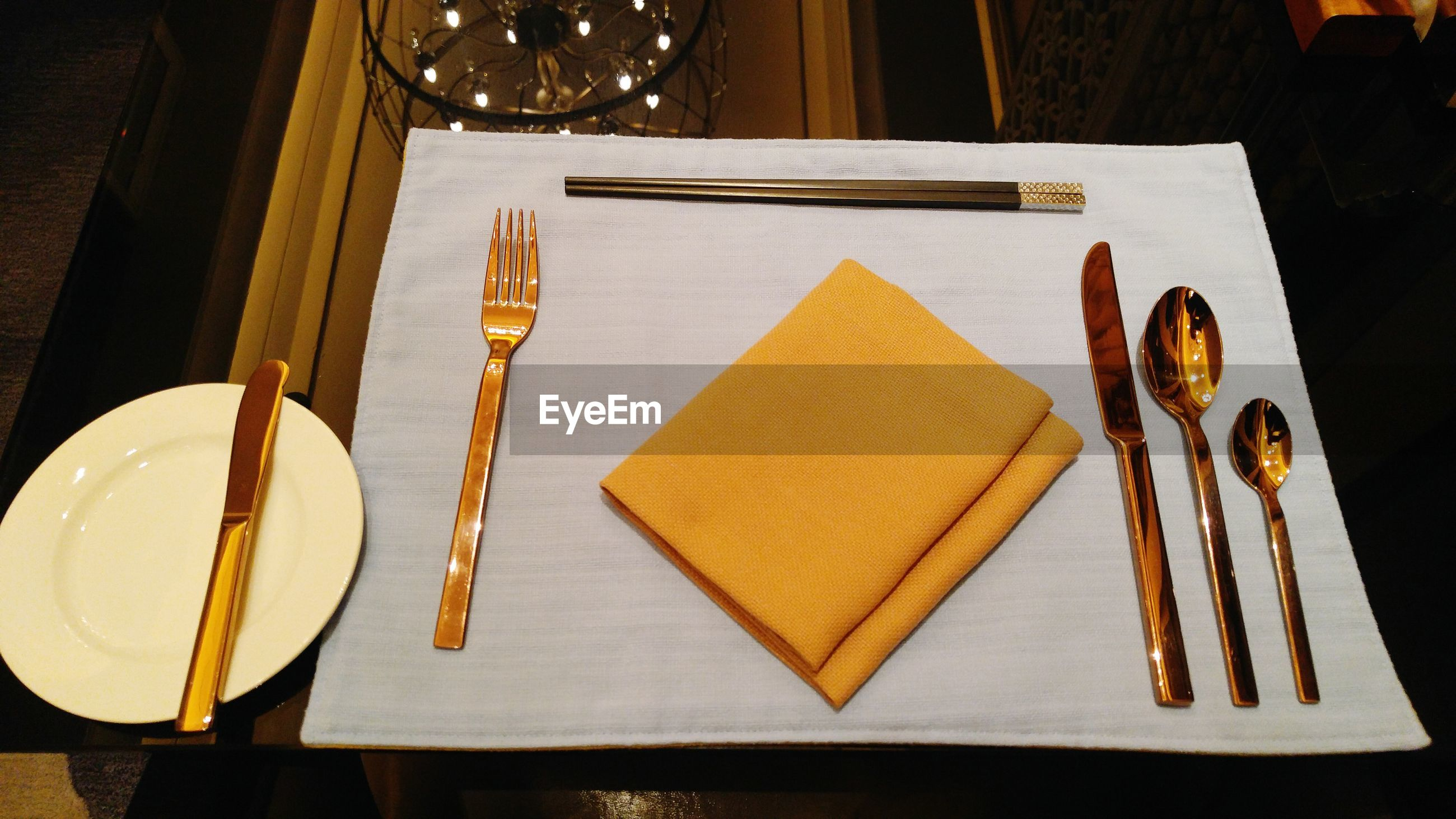 Close-up of place setting on table