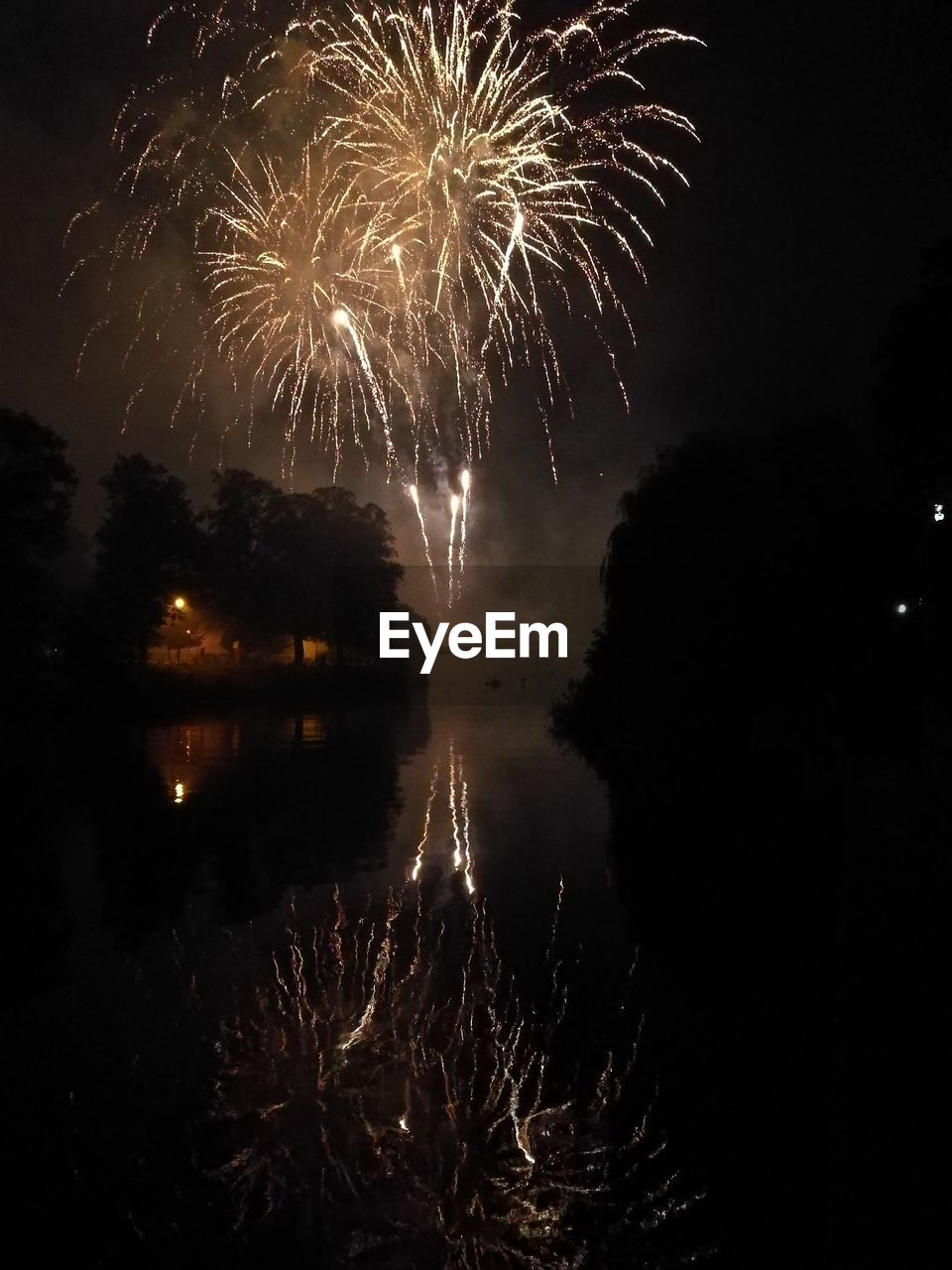 night, firework display, firework - man made object, exploding, illuminated, sky, celebration, reflection, silhouette, water, long exposure, arts culture and entertainment, outdoors, low angle view, no people, firework, tree, scenics, nature