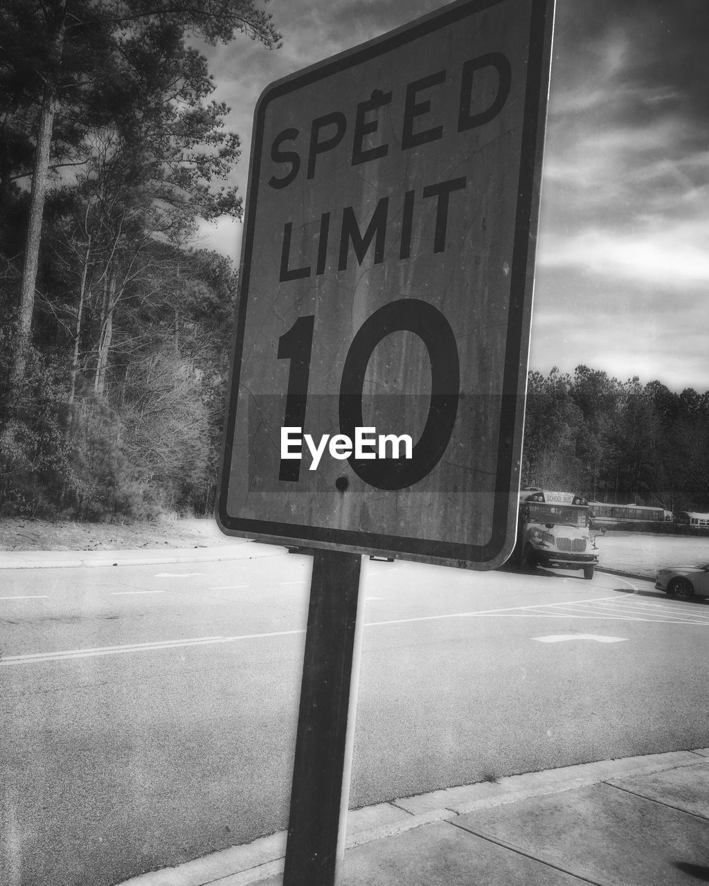 communication, text, road sign, tree, day, road, transportation, guidance, no people, outdoors, speed limit sign, sky, close-up