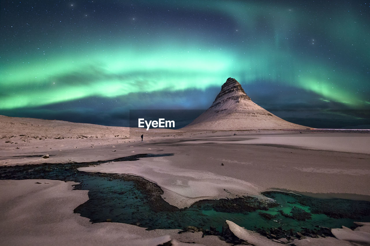 Scenic View Of Aurora Borealis Over Snow Covered Landscape At Night