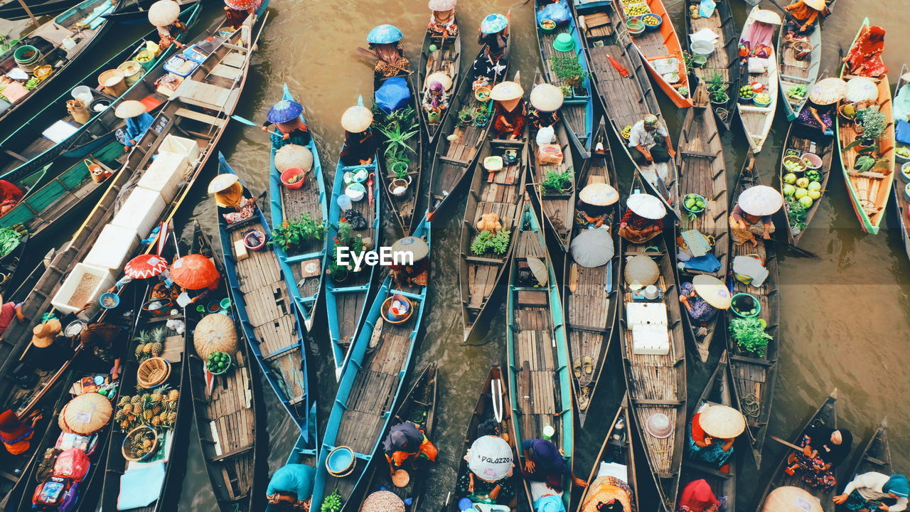 High angle view of floating market