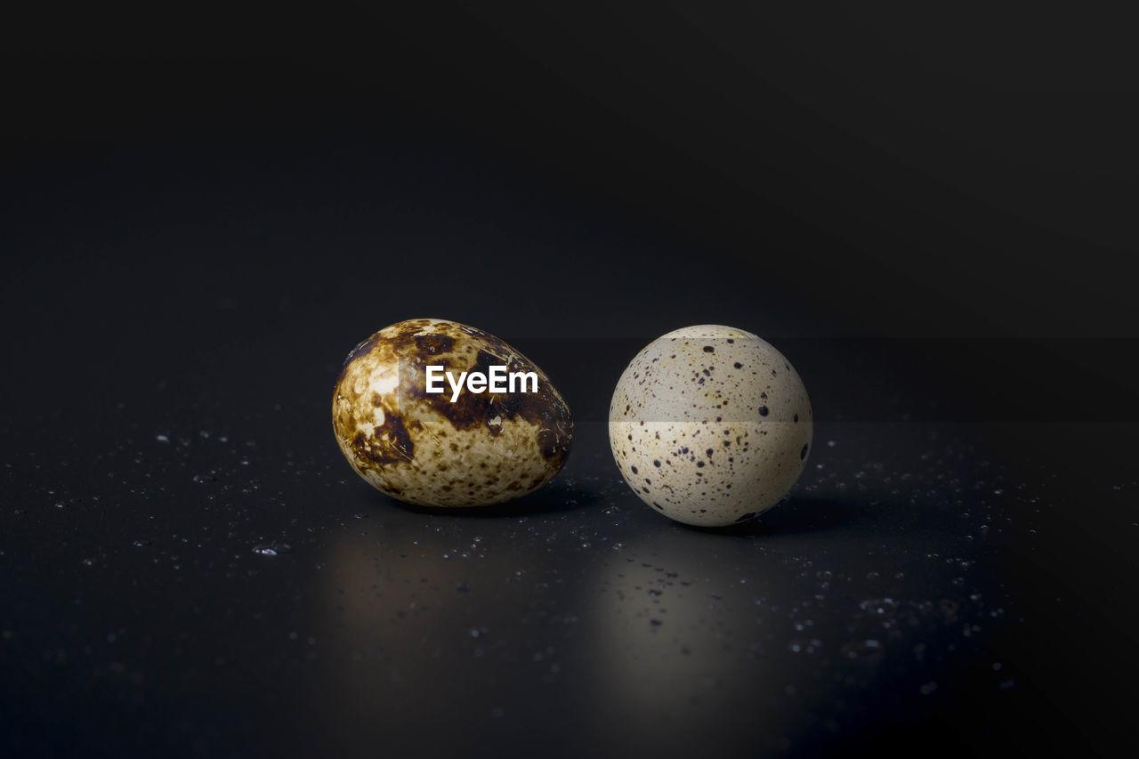 Close-up of quail eggs against black background