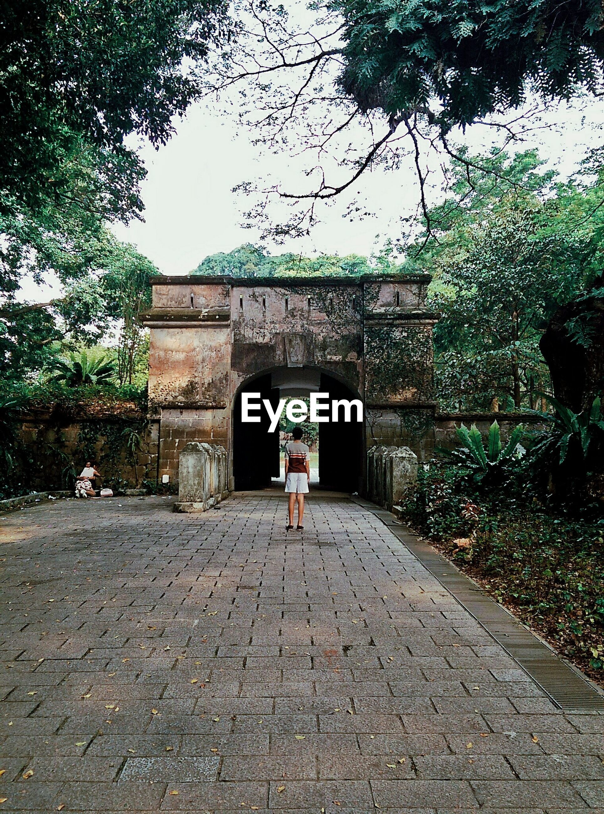Rear view of person standing against historic building in park